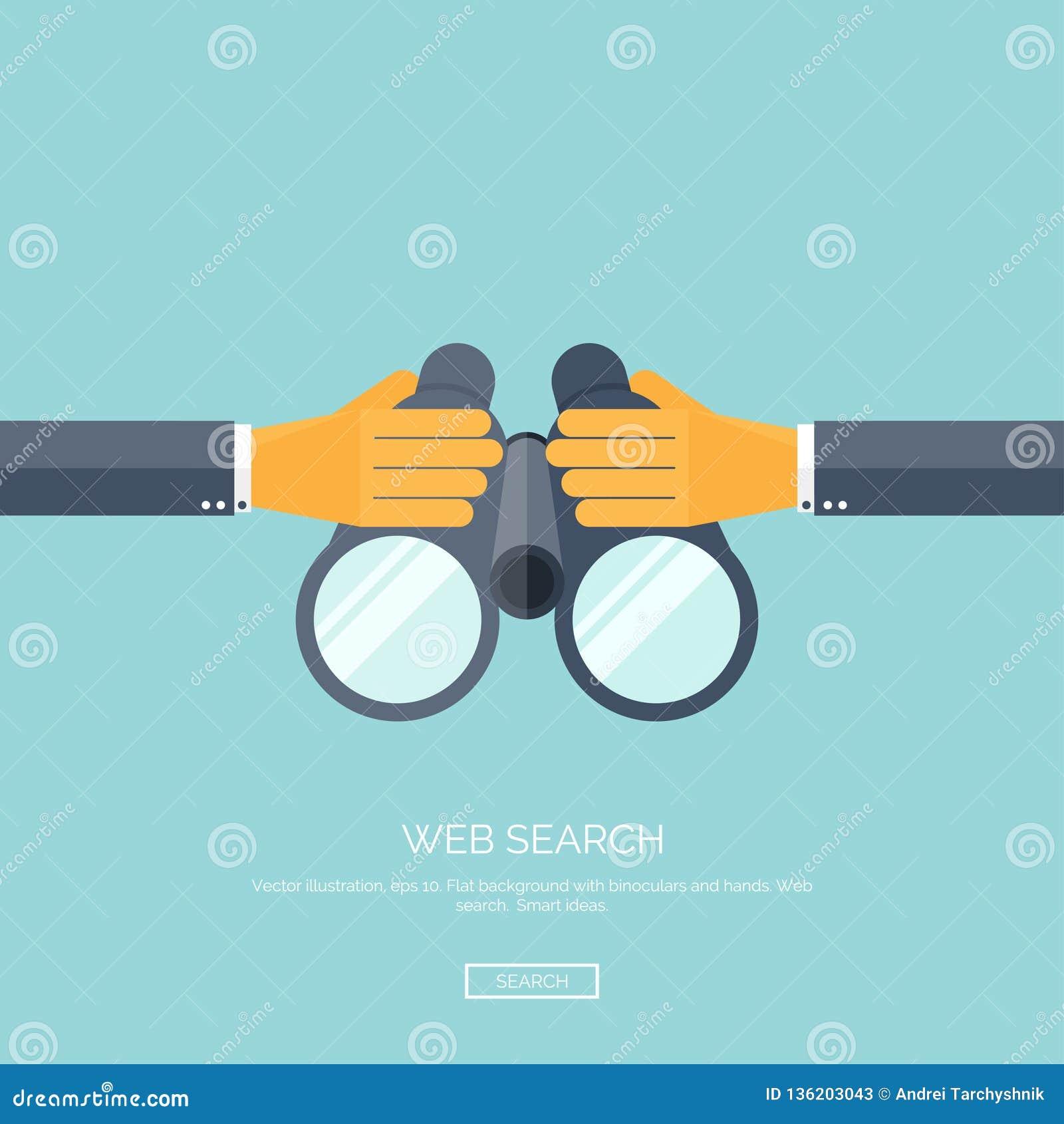 Auch im corel abgehobenen Betrag Flacher Hintergrund mit der Hand und binokular Netzsuchkonzepthintergrund Entdeckungsinformation