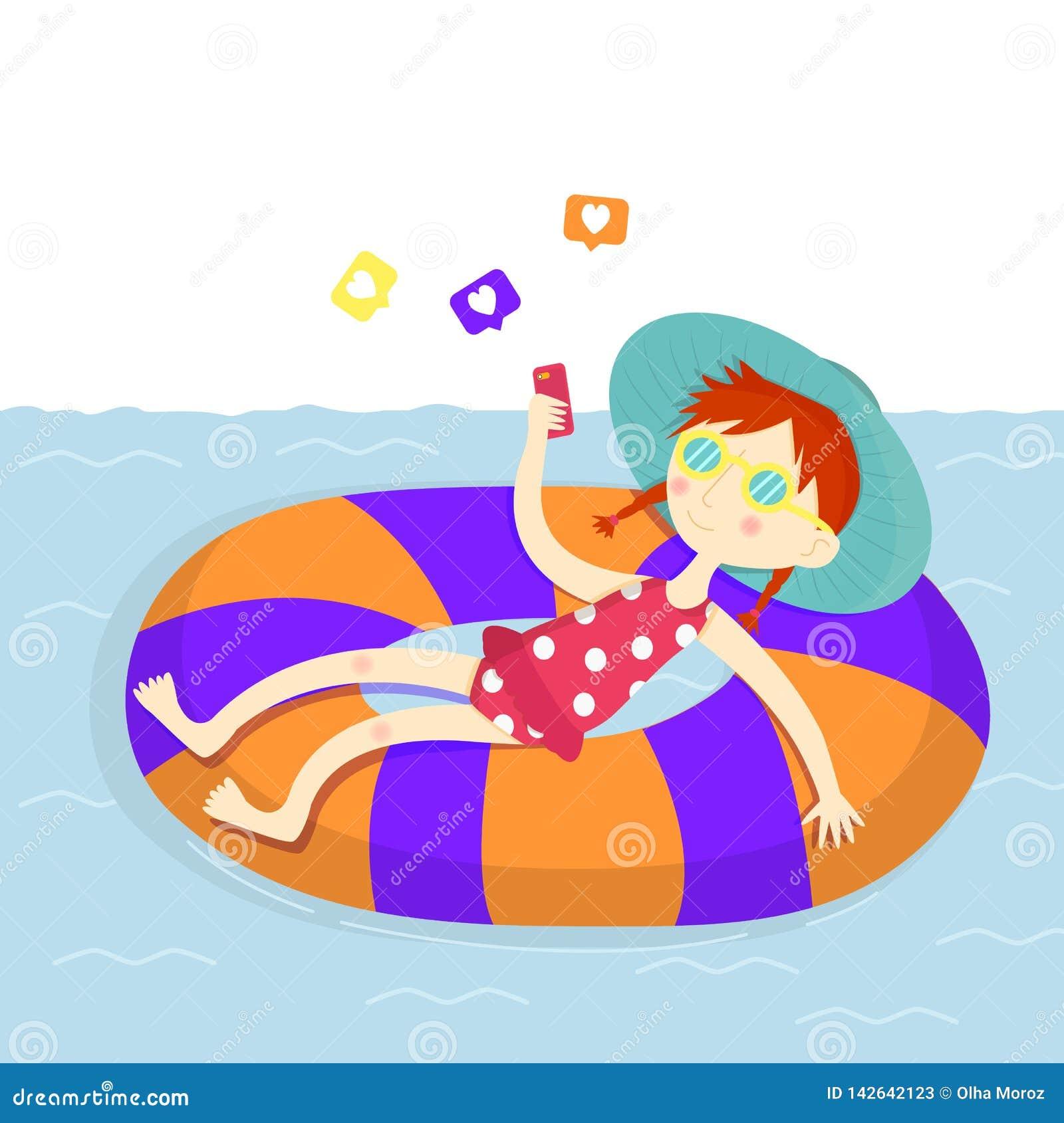 Auch im corel abgehobenen Betrag Wochenende auf dem Strand Mädchen mit einem smartphone