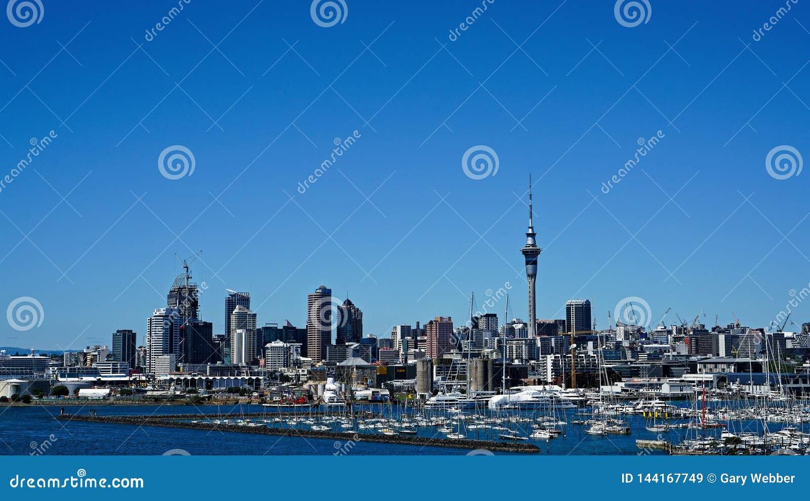 Auckland et port du pont de port d Auckland, Nouvelle-Zélande