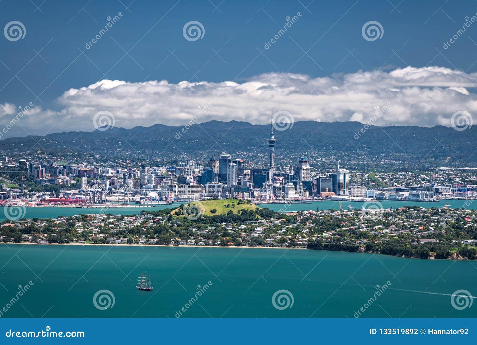 Auckland, Nueva Zelanda, visión desde la isla de Rangitoto