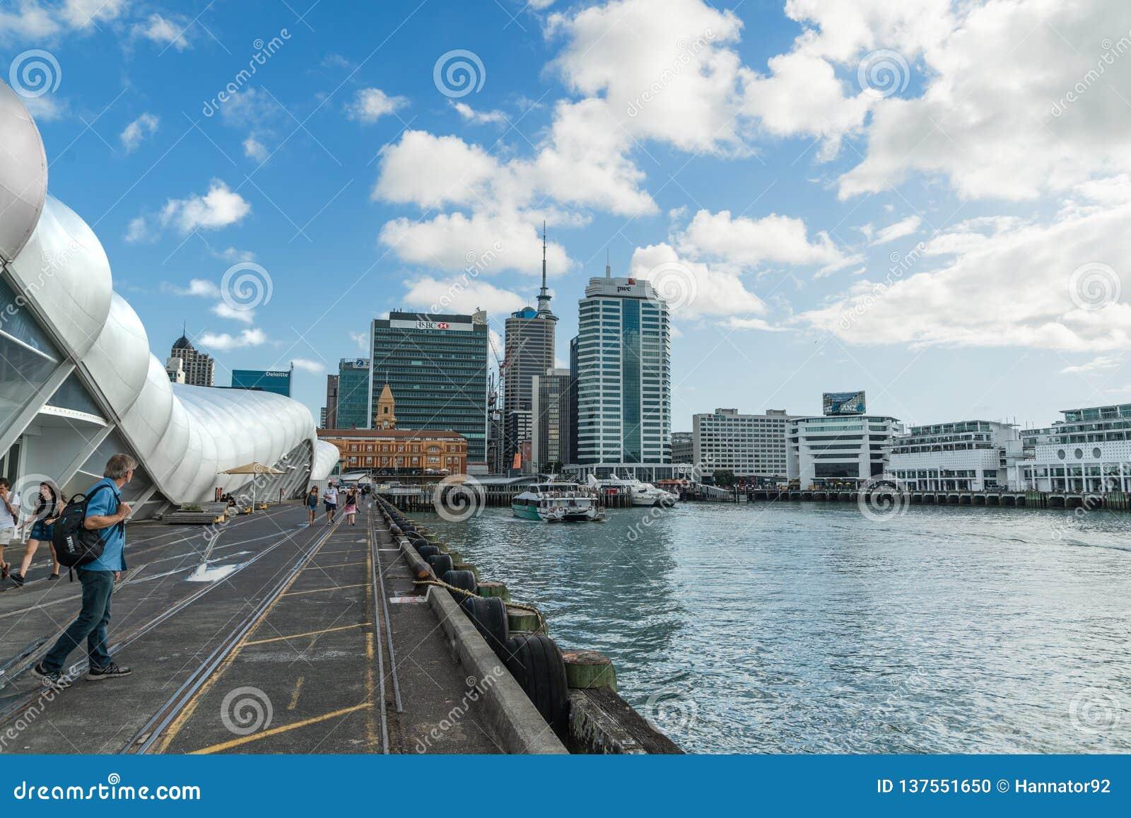 Auckland rejsu port śmiertelnie i miasta linia horyzontu, Północna wyspa Nowa Zelandia