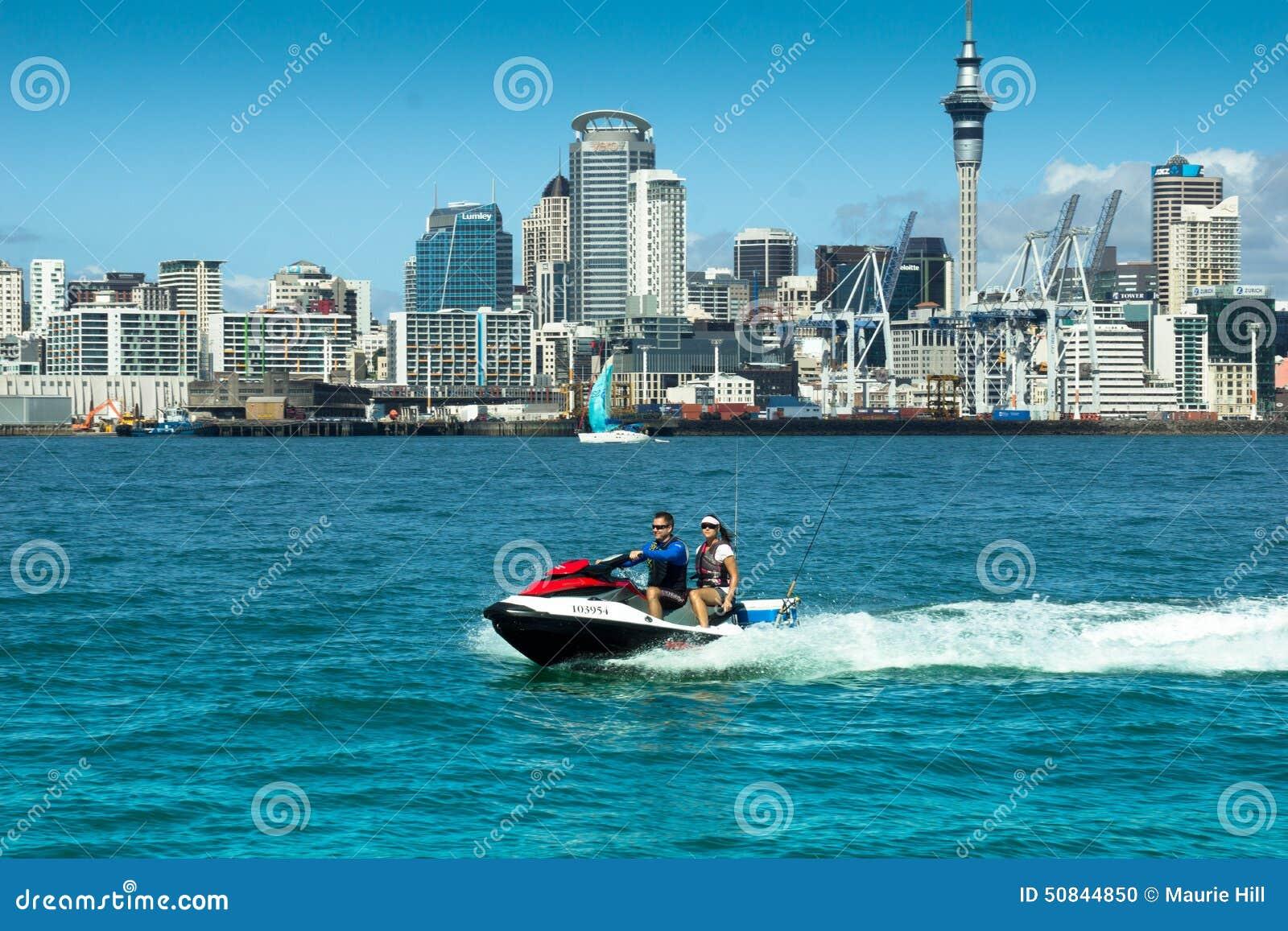 Auckland Skyline & PWC - Jetski Editorial Image - Image of
