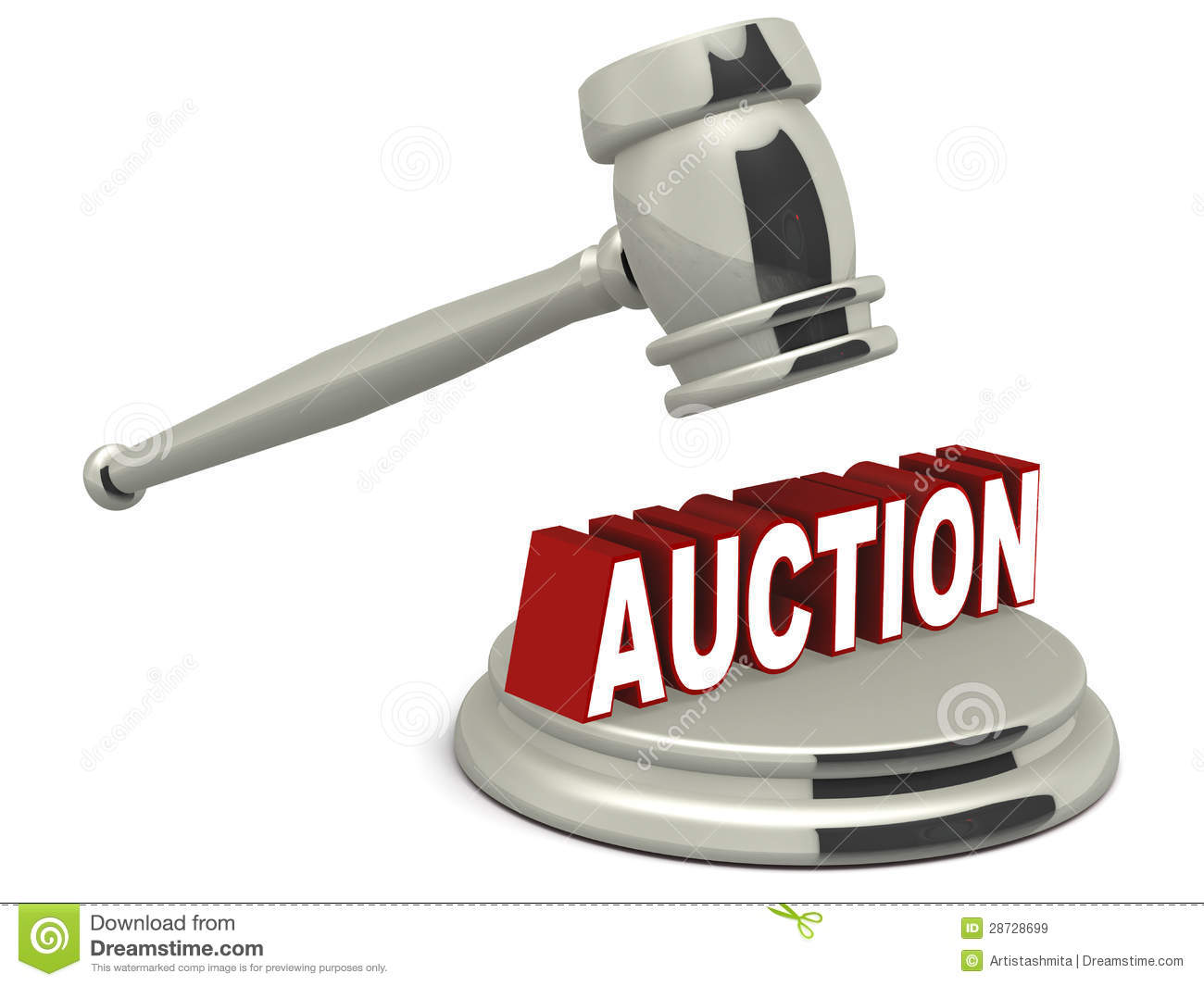auction chrome hammer falling on word auction over chrome gavel over a white background