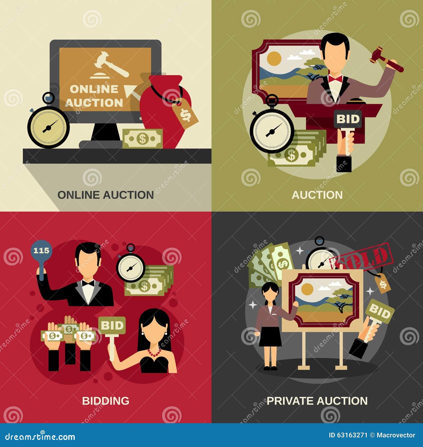 One Line Art Action : Online auction icons vector illustration cartoondealer