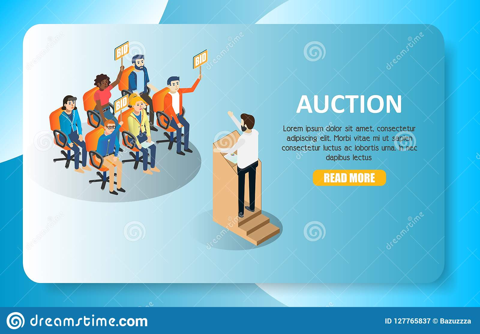 Auction Vector Isometric Web Banner Website Template Stock Vector Illustration Of Interface Competition 127765837