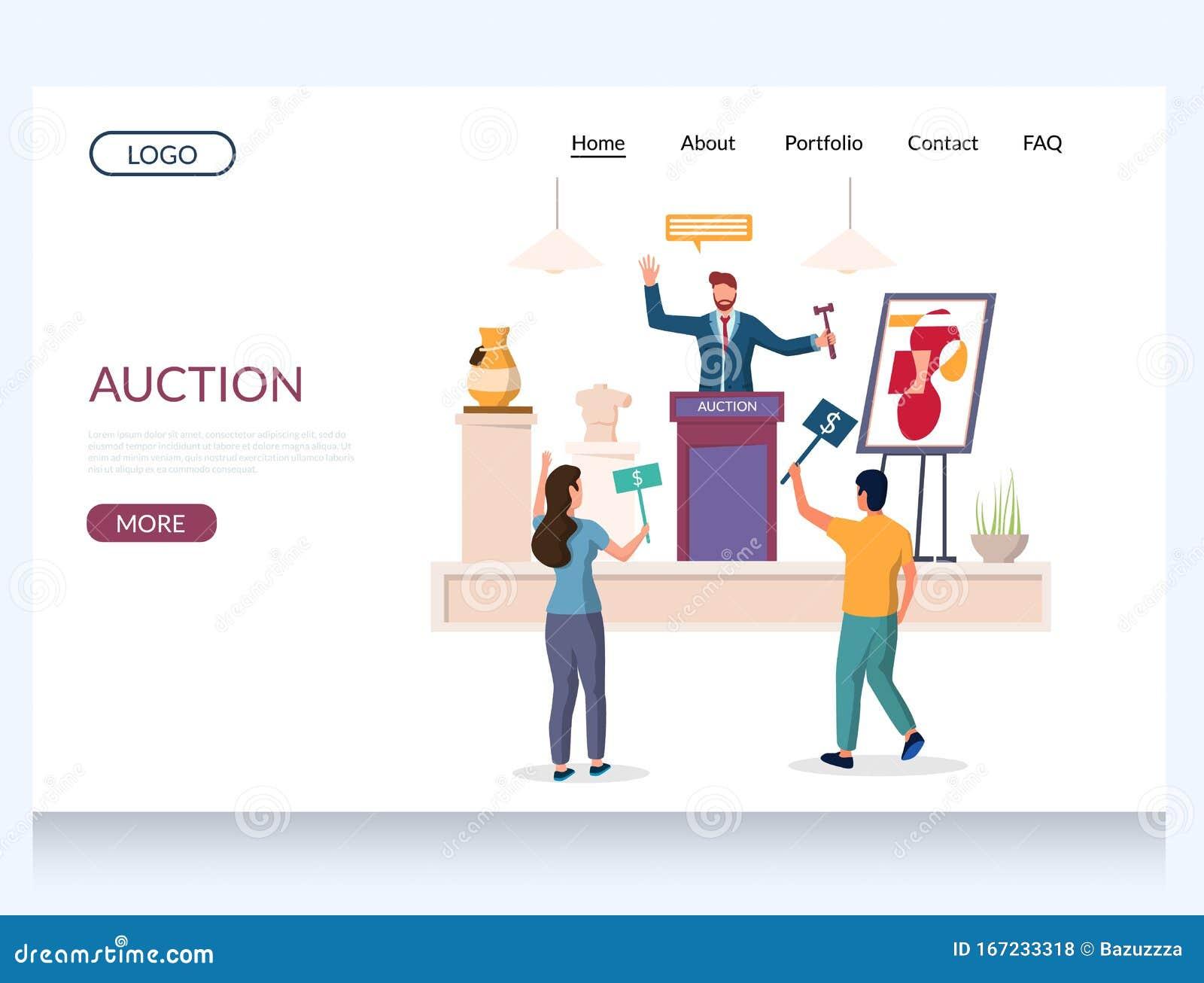 Auction Vector Website Landing Page Design Template Stock Vector Illustration Of Bidding Hands 167233318