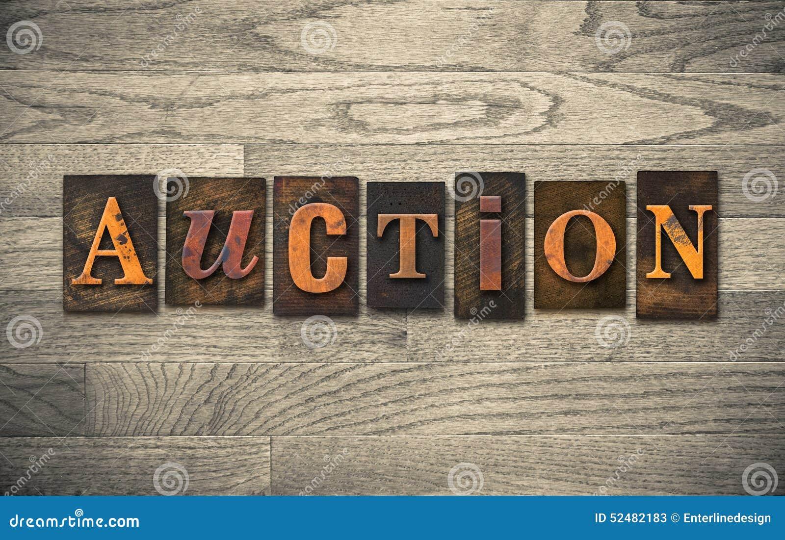 auction wooden letterpress theme stock photo