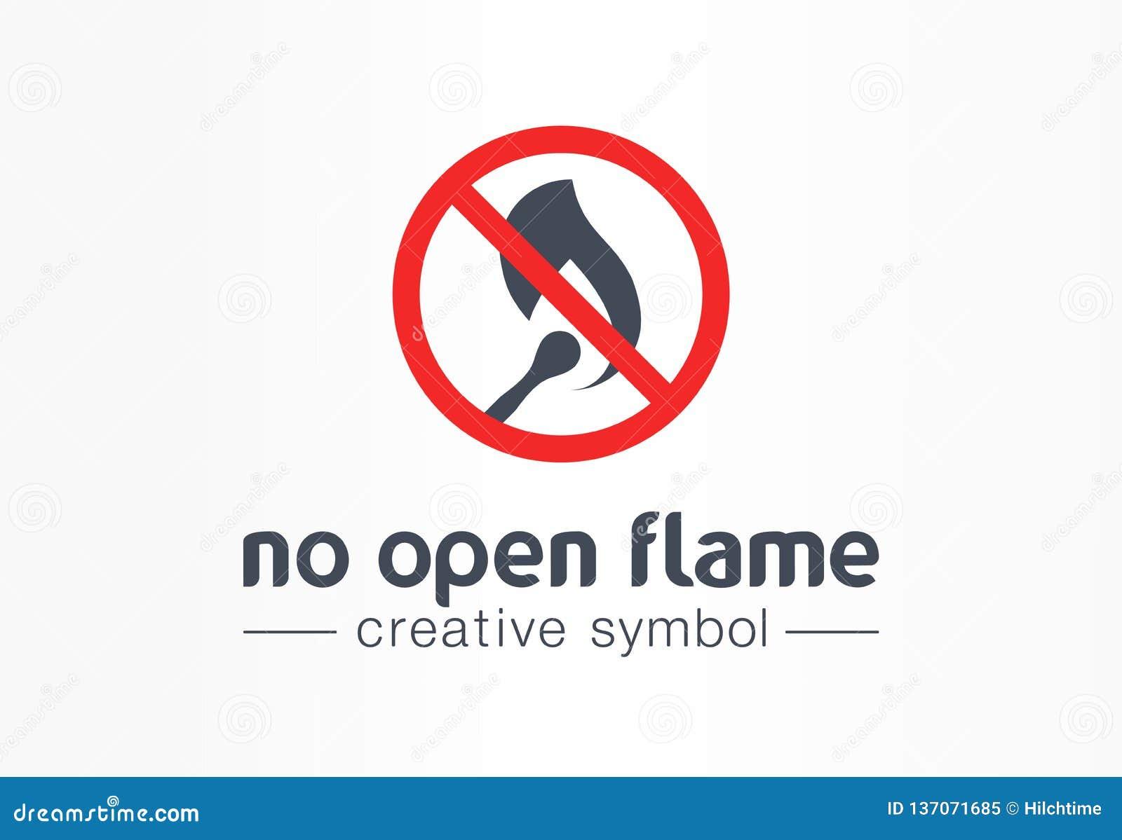 Aucun concept créatif de symbole de flamme nue Logo sûr de avertissement d affaires d abrégé sur interdiction du feu Précaution d