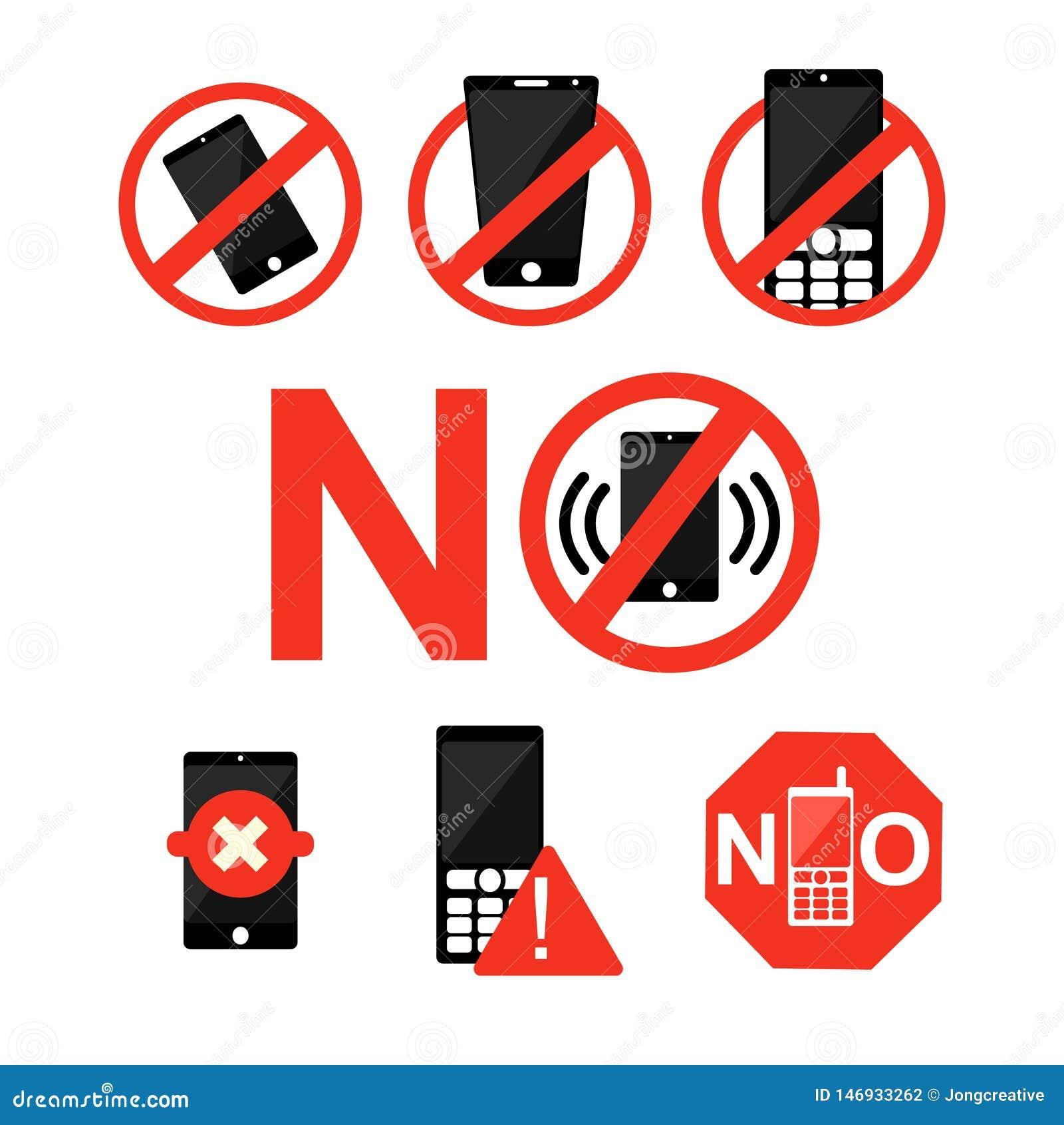 Aucun signe de symbole de zone interdit par téléphone portable de téléphone portable