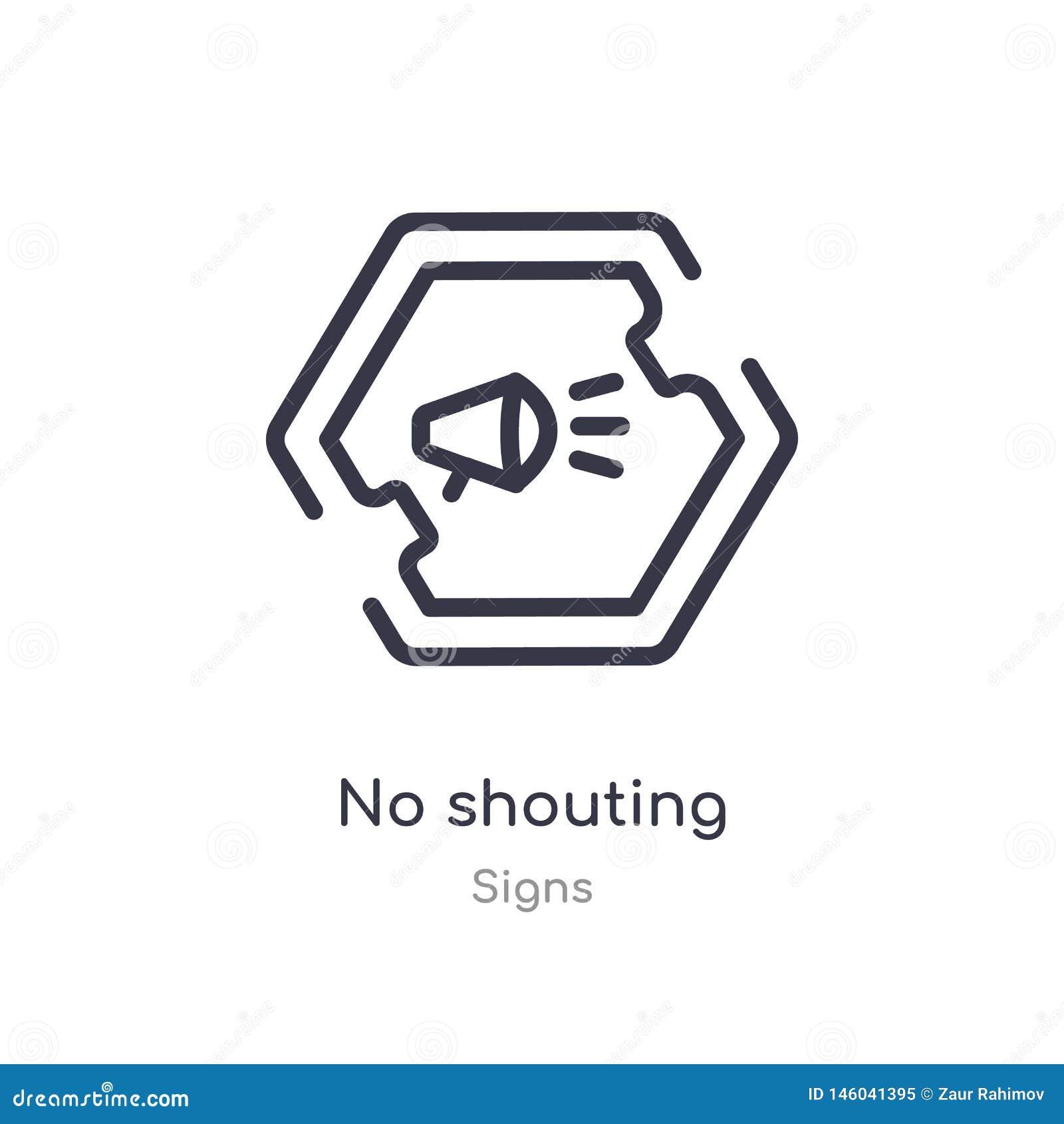Aucune icône de cri d ensemble ligne d isolement illustration de vecteur de collection de signes course mince editable aucune icô