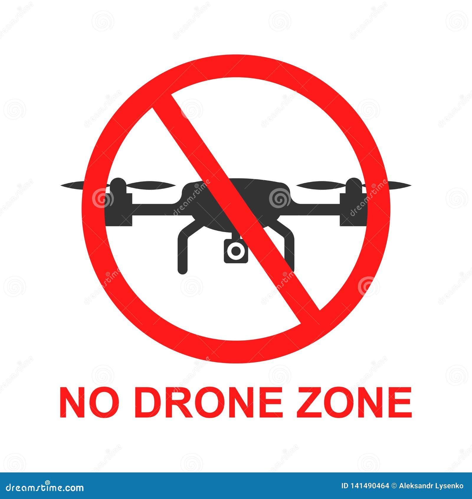 Aucune icône de signe de zone de bourdon dans le style plat Illustration de vecteur d interdiction de Quadrocopter sur le fond d
