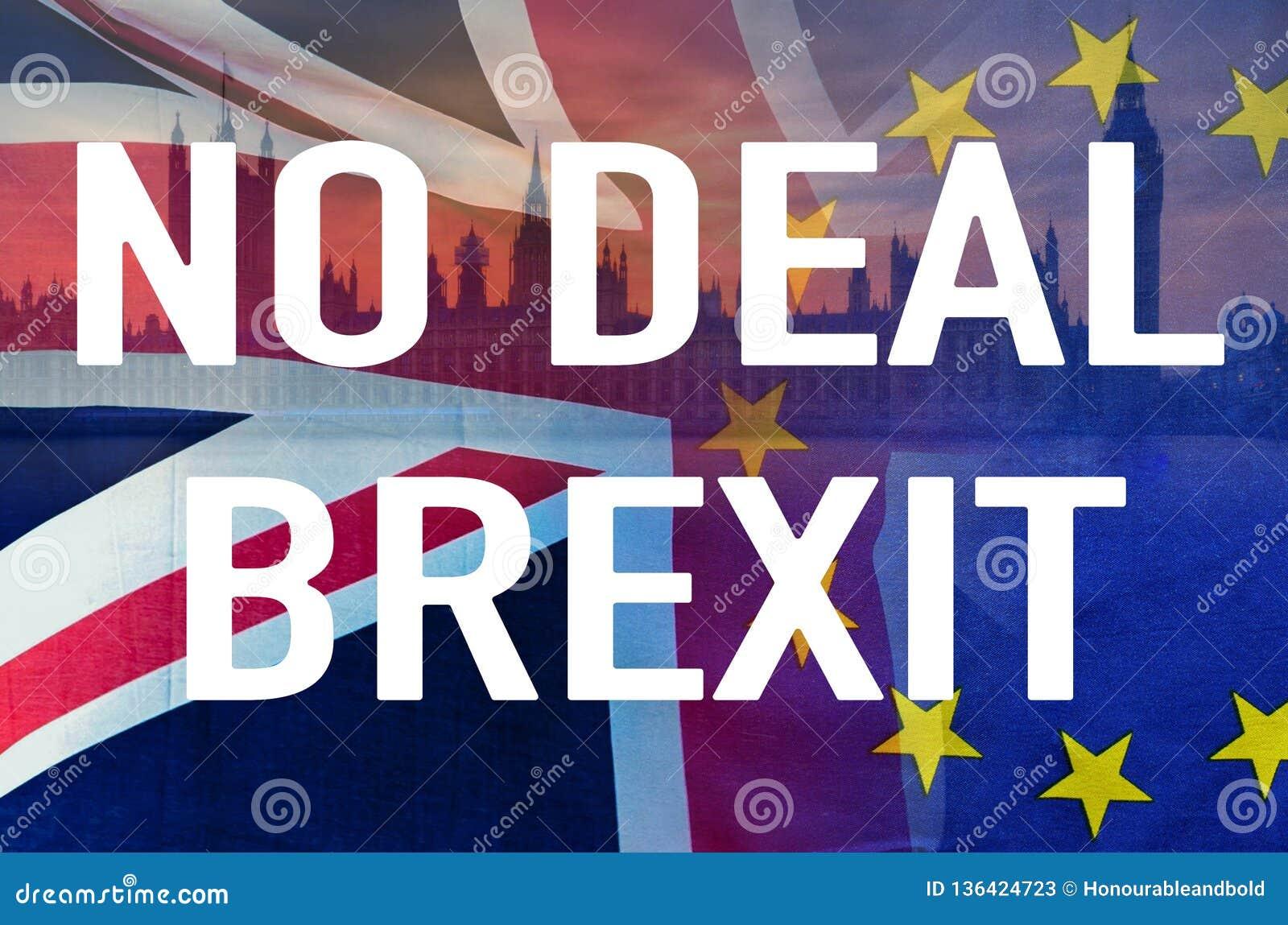 Aucune image conceptuelle de l affaire BREXIT de texte au-dessus d image de Londres et de drapeaux du R-U et de l UE symbolisant