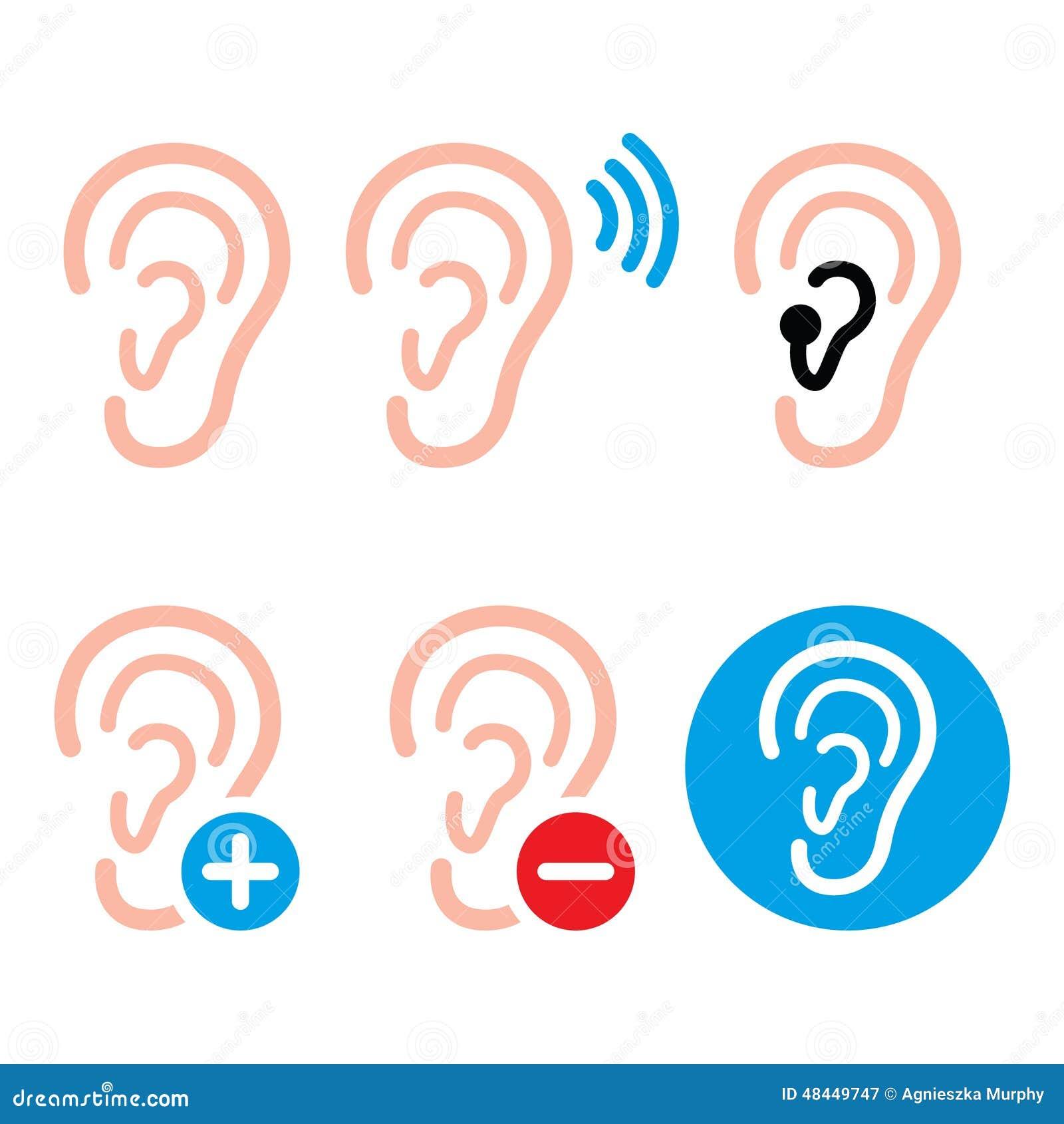 Audífono del oído, persona sorda - iconos del problema de salud fijados