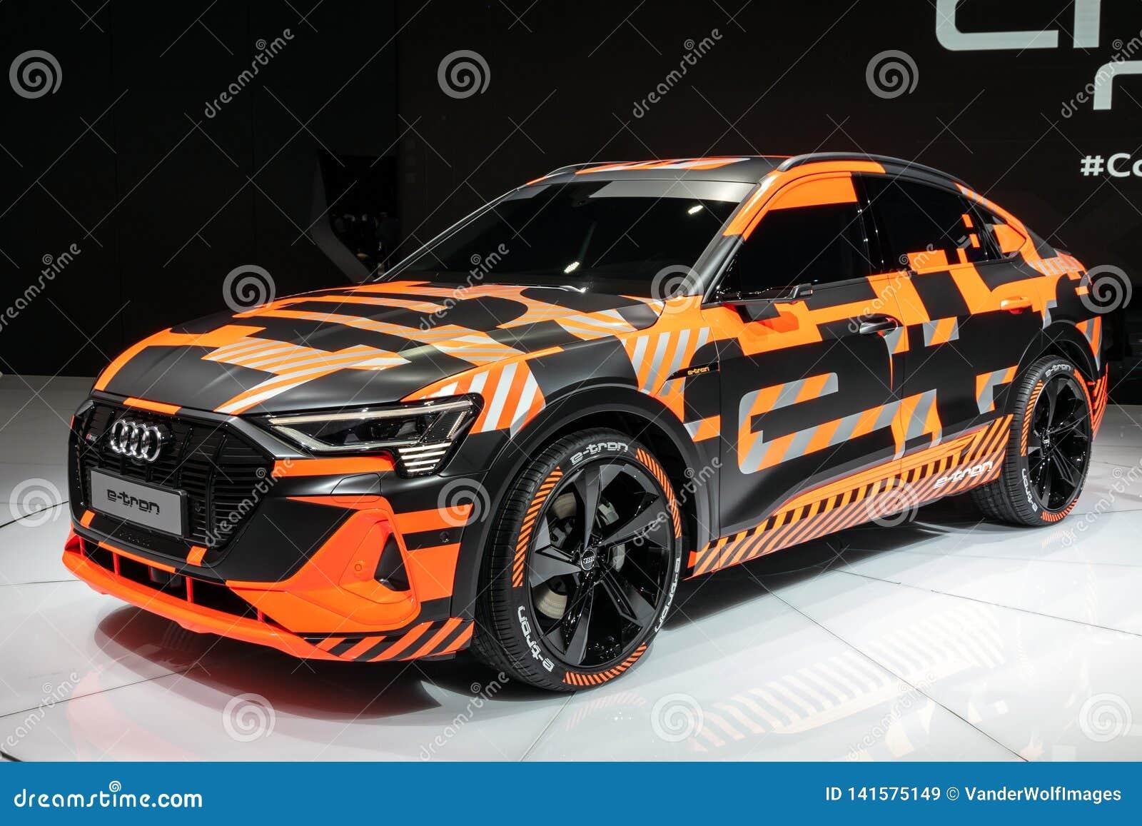 Audi E Tron Sportback Electric Suv Coupe Car Editorial Stock Image Image Of Sports Orange 141575149