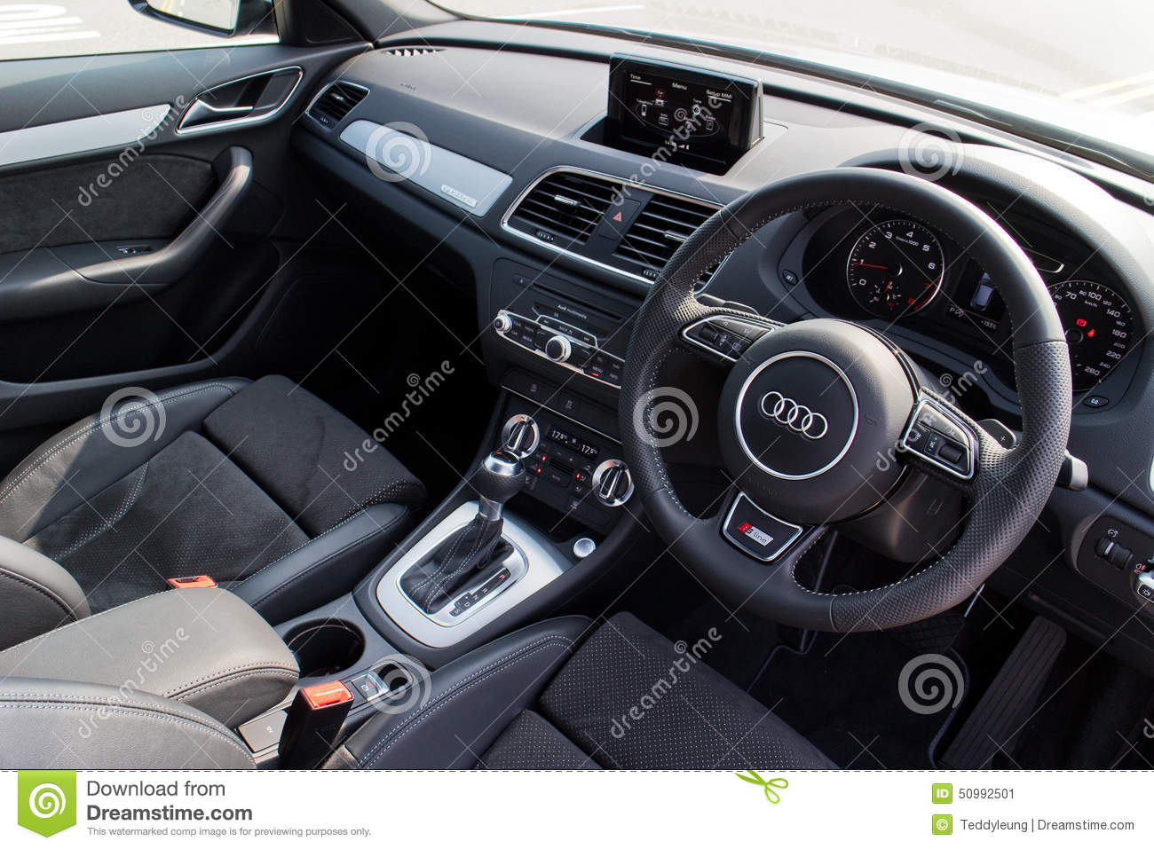 audi q3 black edition 2015 interior editorial photo image 50992501. Black Bedroom Furniture Sets. Home Design Ideas