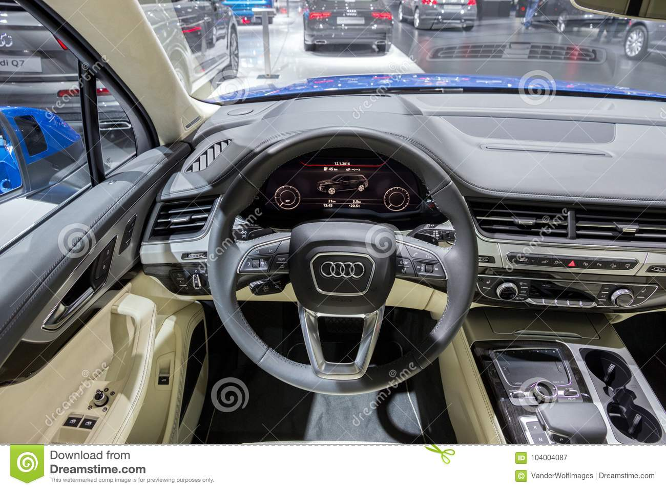 Audi Q7 Car Interior Dashboard Editorial Photography Image Of