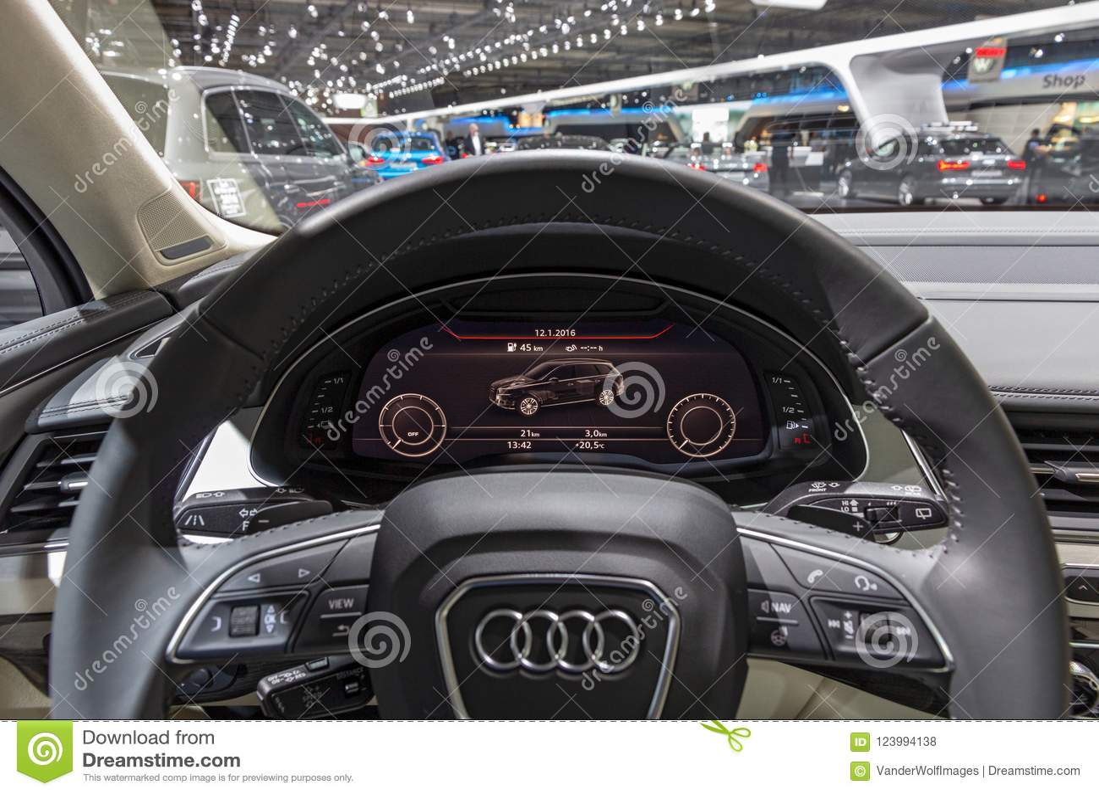 Download Audi Q7 Suv Car Dashboard Interior Editorial Stock Photo   Image  Of Interior, Wheel