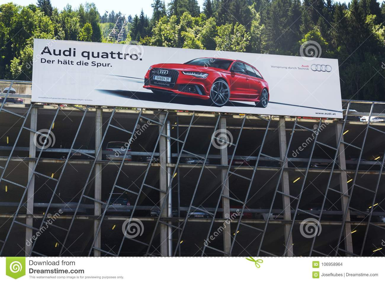 Audi Quattro Car Poster On Parking House Editorial Stock Image
