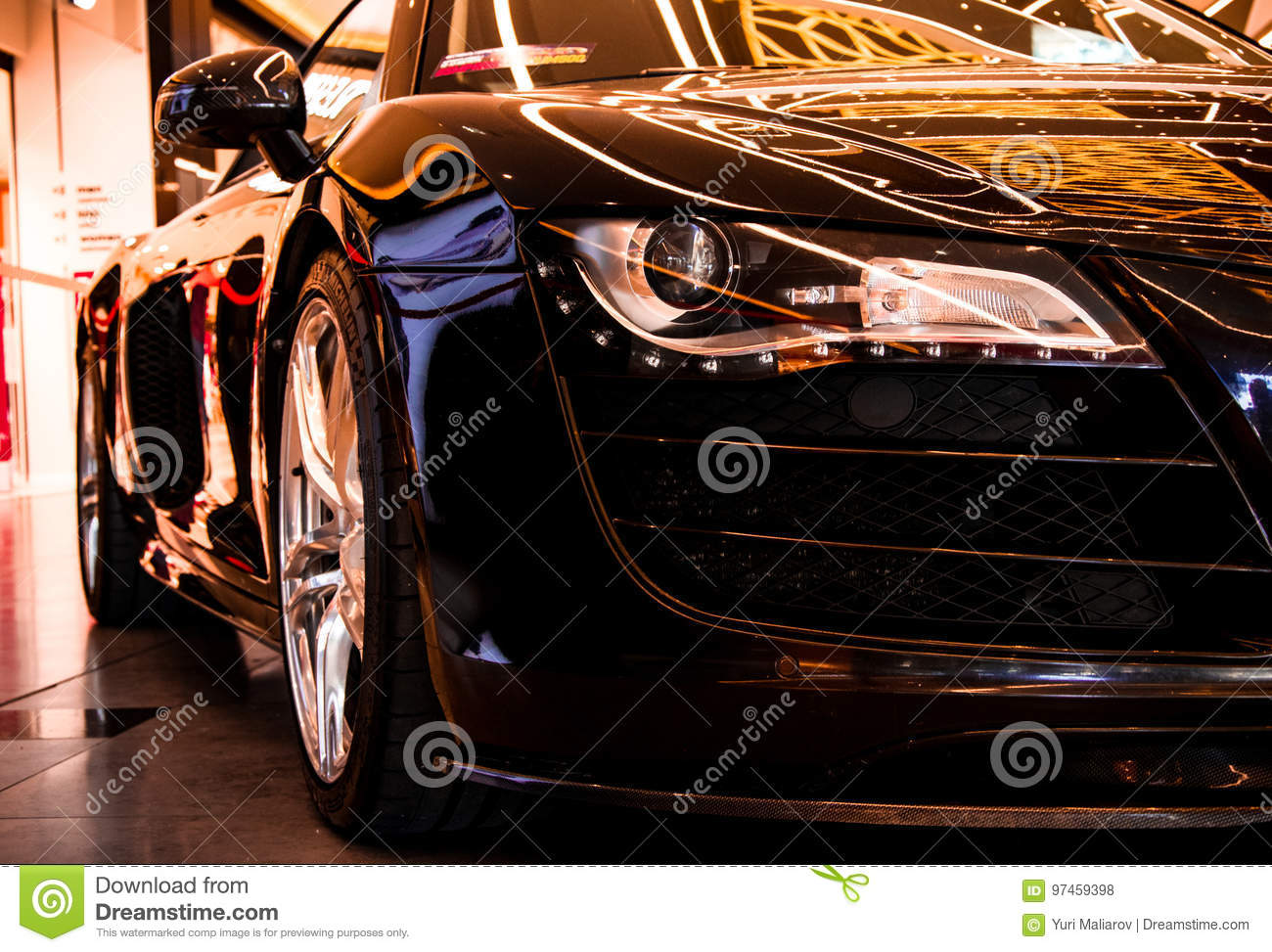 Audi R8 Quattro Black Sportcar Stock Photo Image Of Minsk Orange 97459398
