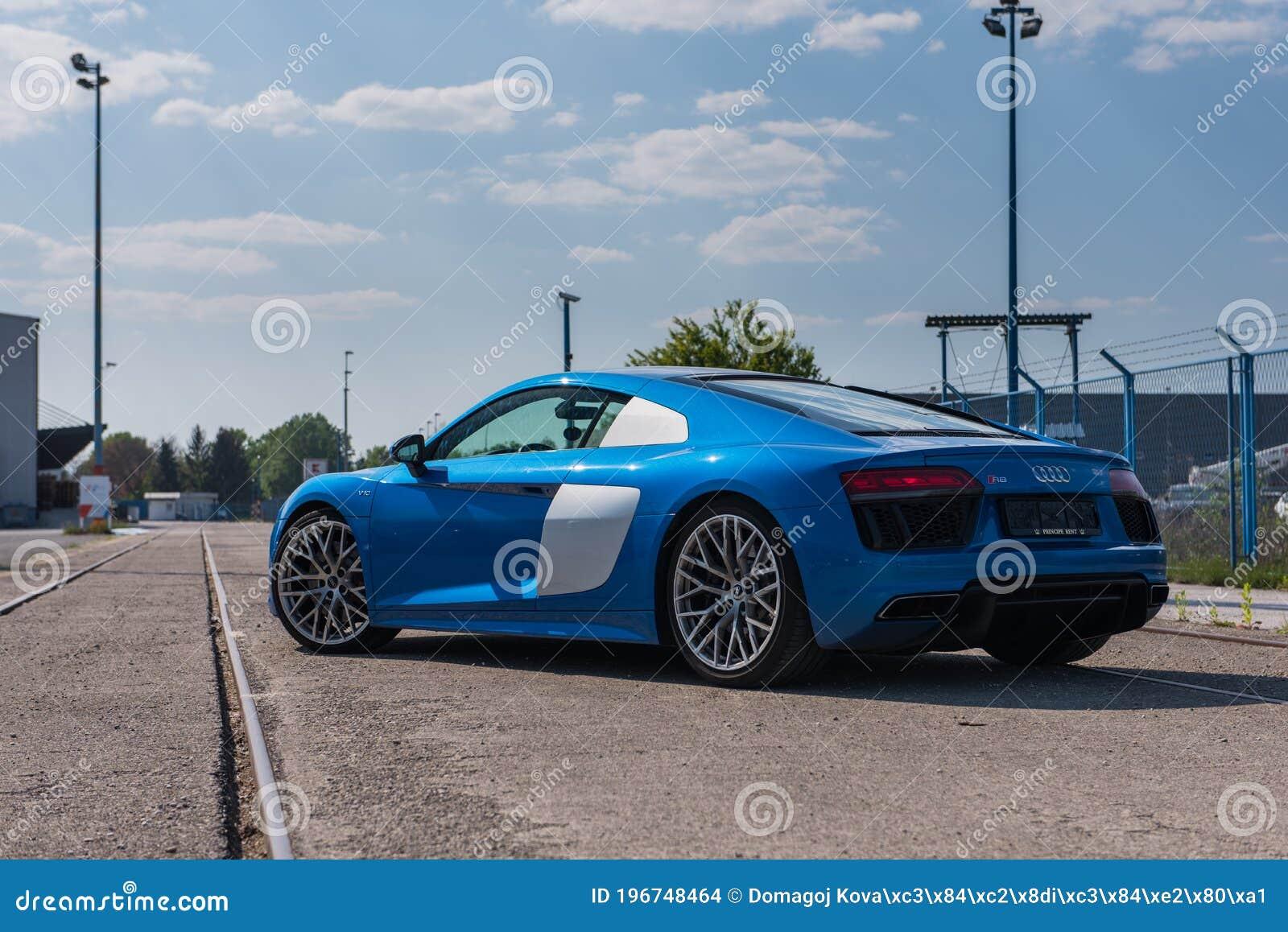 Audi R8 V10 In Blue Colour R8 Quatro Famous Racing Car Editorial Stock Image Image Of Beautiful Quattro 196748464