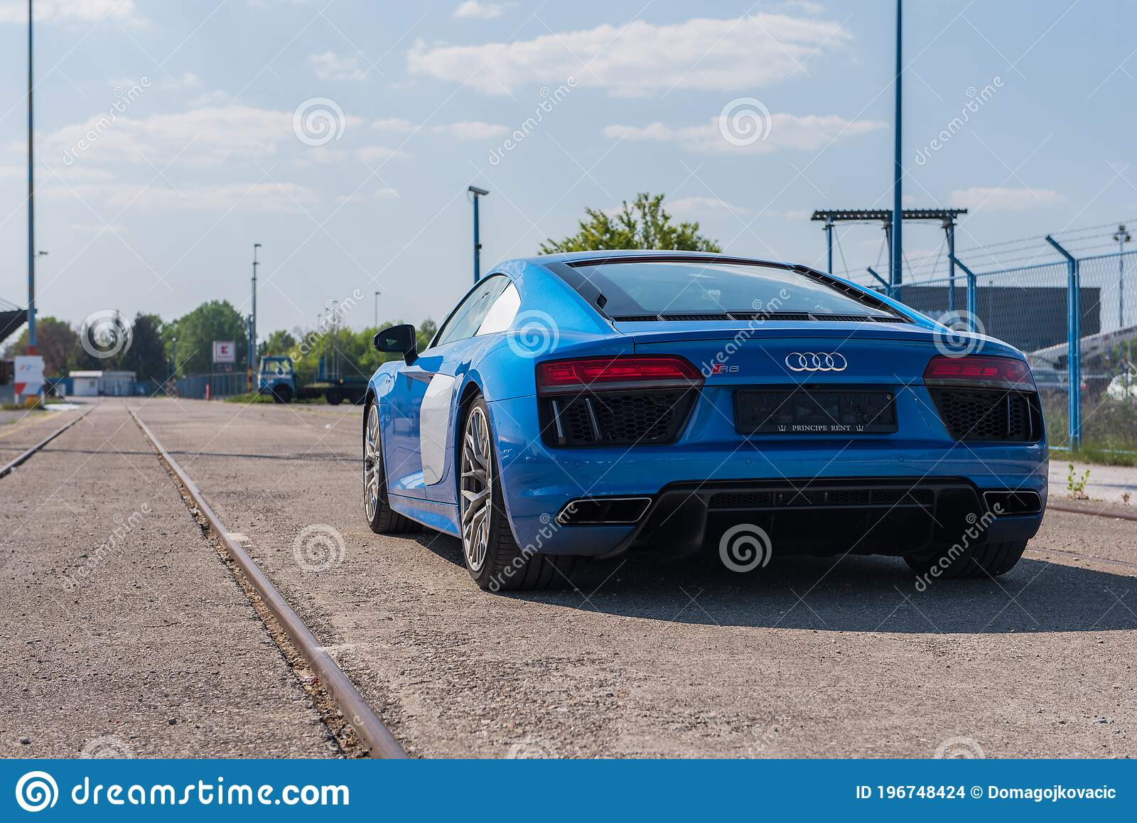 Audi R8 V10 In Blue Colour Audi Sports Car Editorial Stock Image Image Of Technology Urban 196748424