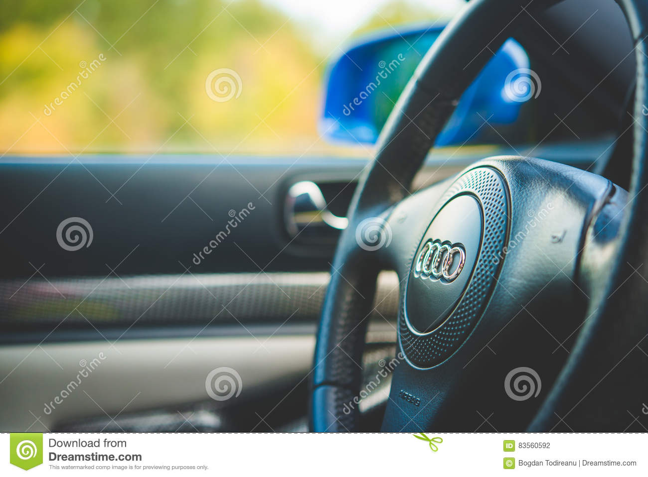 Audi S4 steering wheel editorial photography  Image of