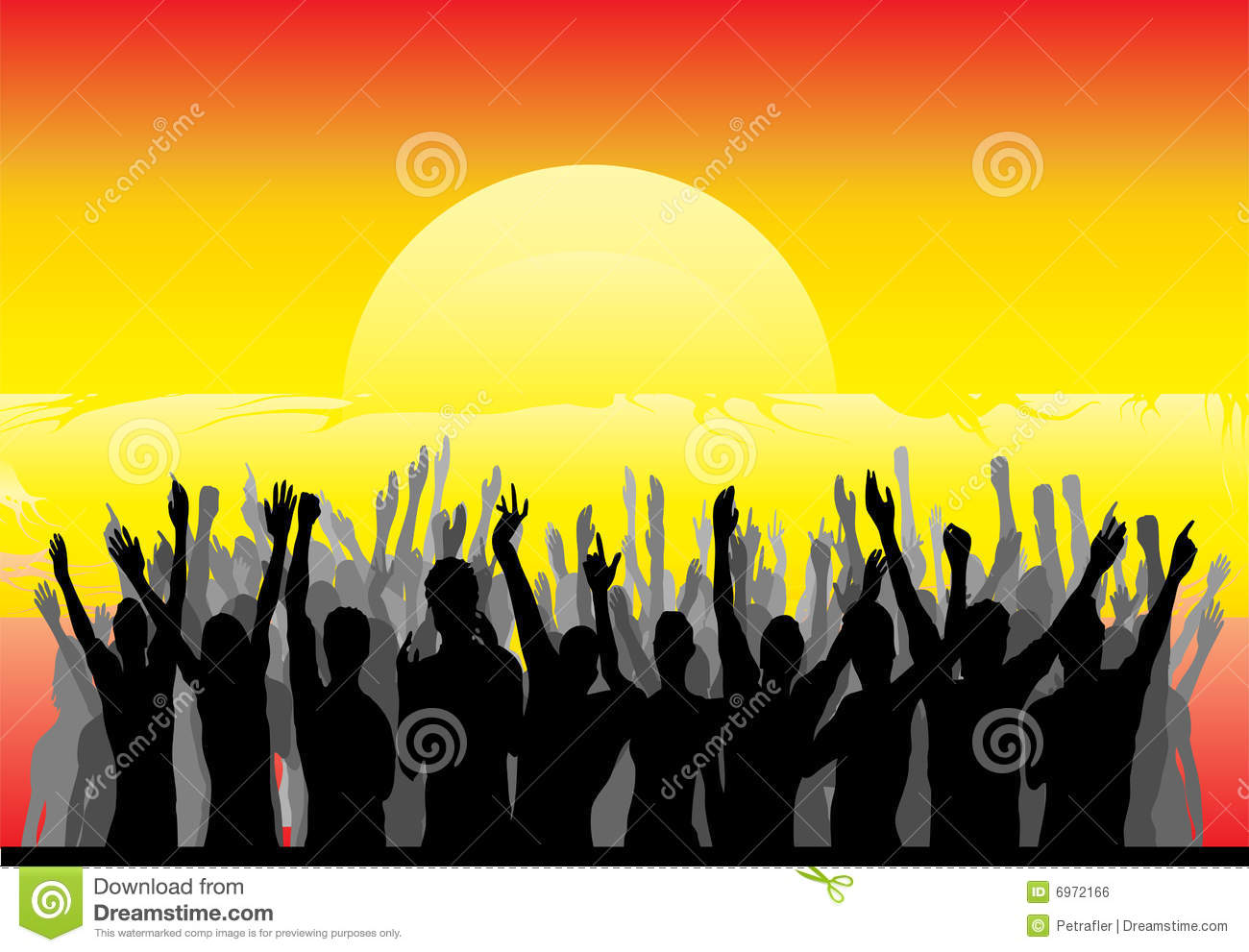 Audience Cheering The Sunrise Royalty Free Stock Image - Image ...