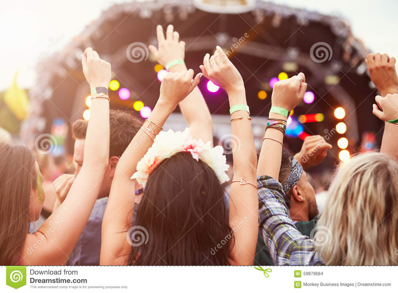 Download Audience With Hands In The Air At A Music Festival Stock Photo - Image of incidental, performance: 59879684