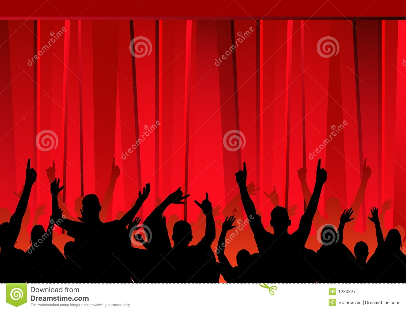 Audience Amp Red Curtains Stock Vector Image Of Friends