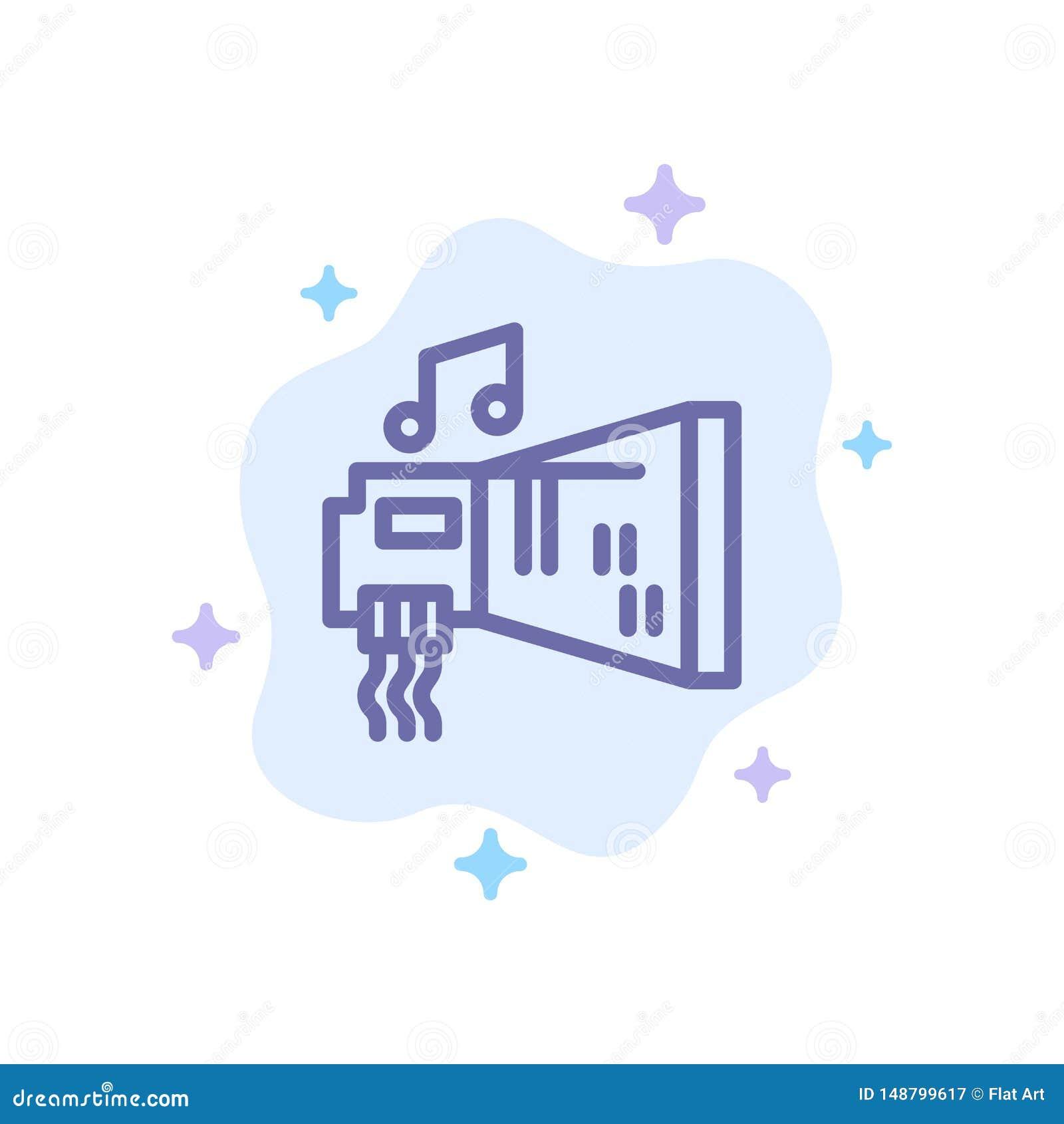 Audio, arenador, dispositivo, hardware, icono azul de la música en fondo abstracto de la nube