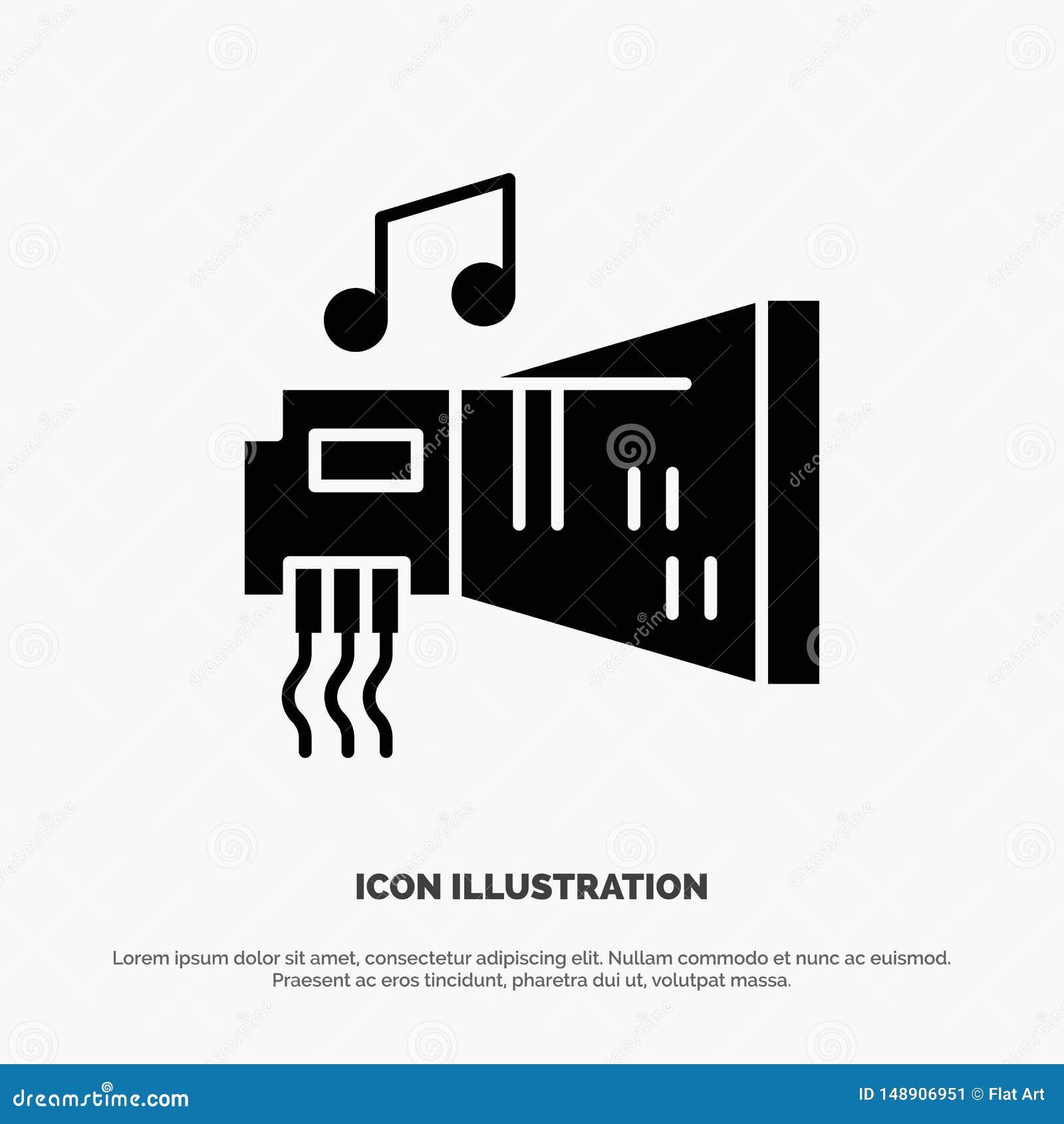 Audio, arenador, dispositivo, hardware, vector sólido del icono del Glyph de la música