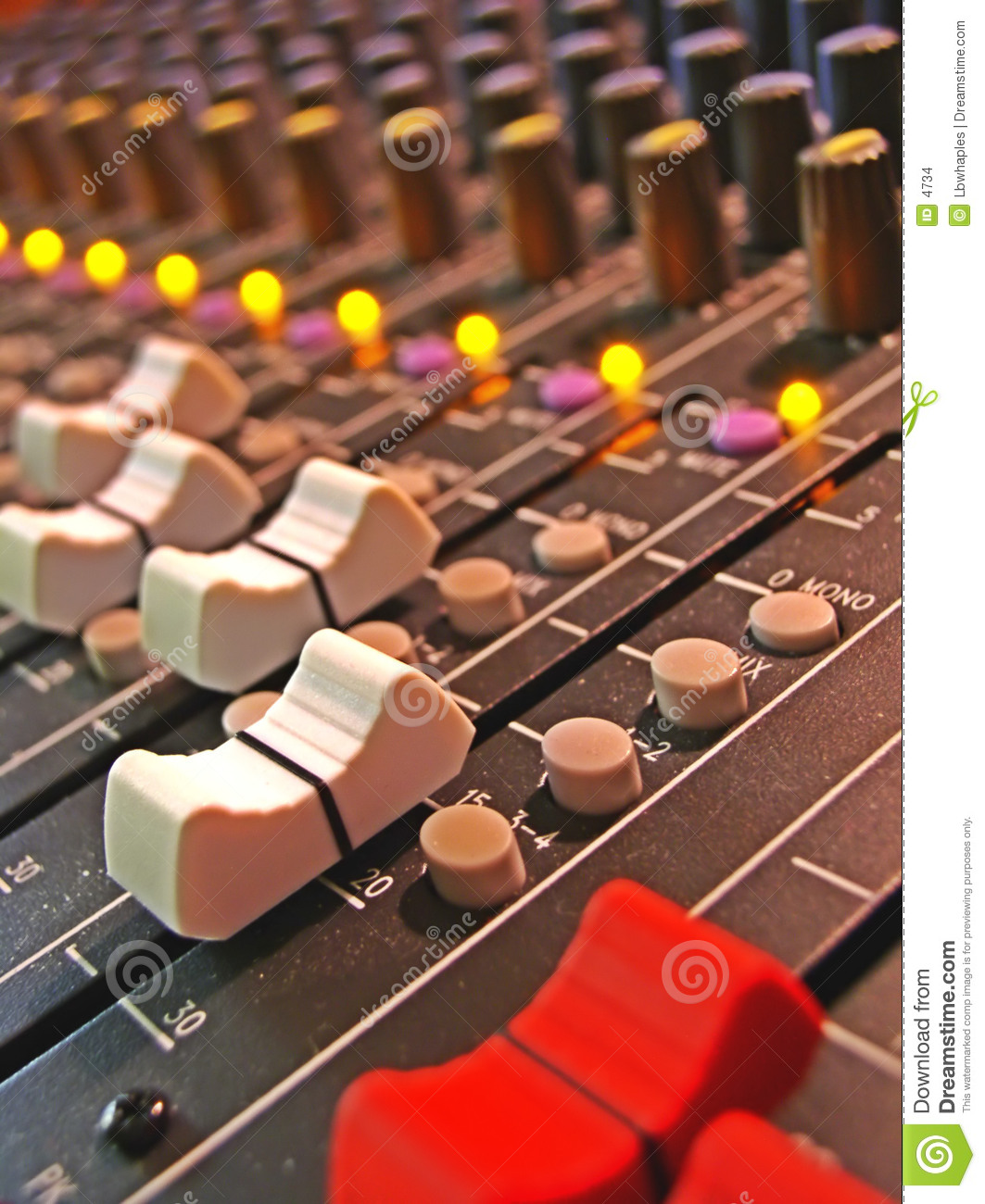 Audio board mixing sliders
