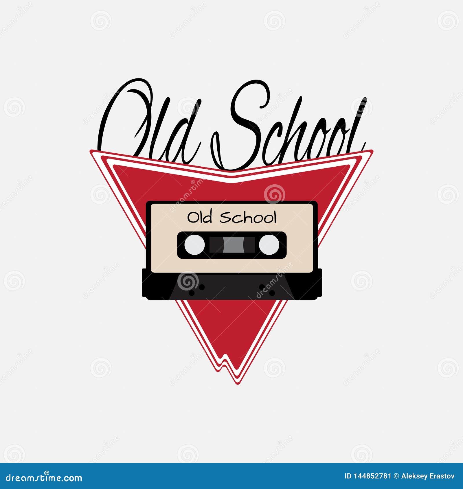 Audio cassetta su fondo astratto con la vecchia scuola del testo Illustrazione di vettore