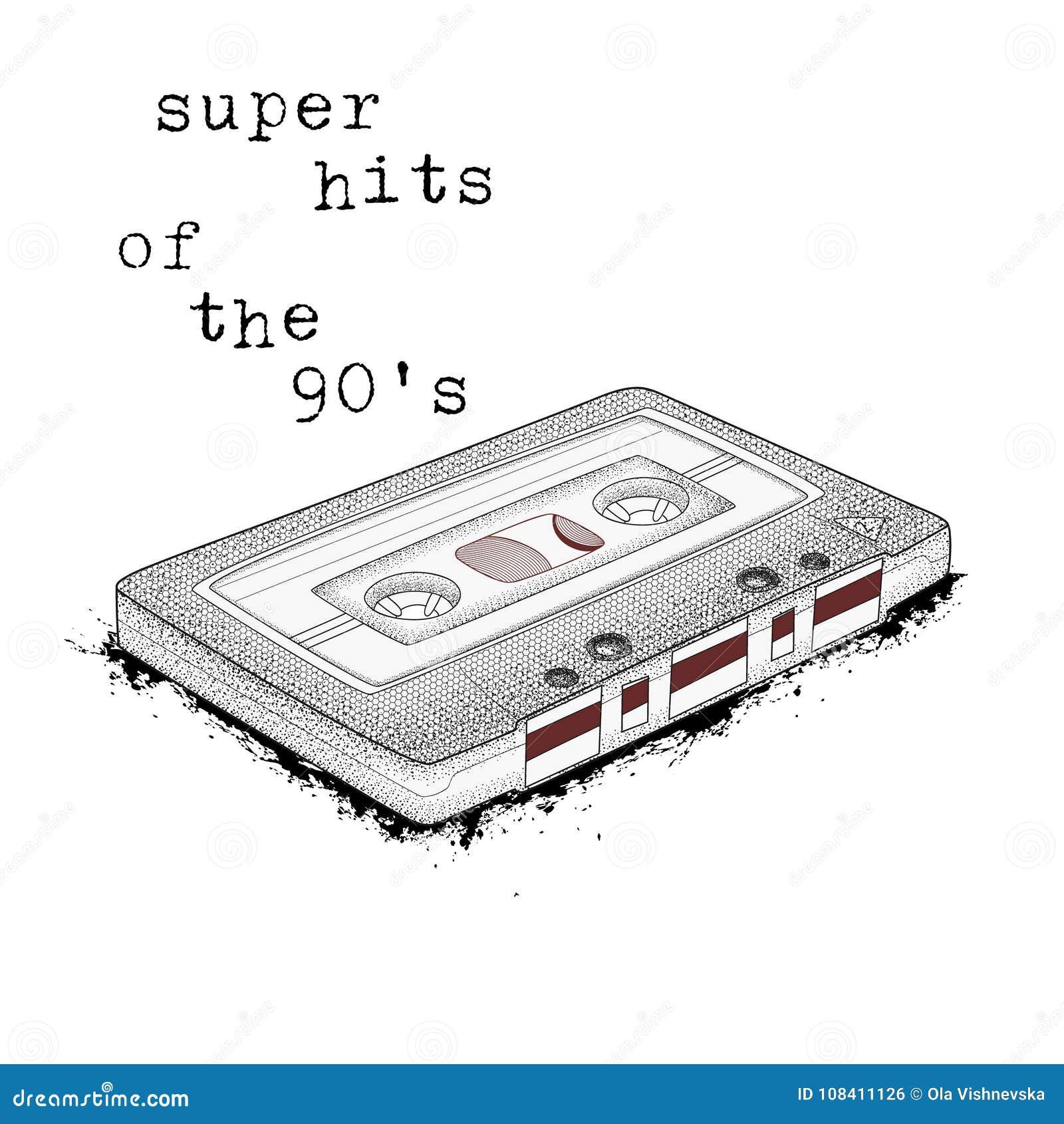 Audio Cassette, Symbol Of Retro Music  Super Hits Of The 90s  80