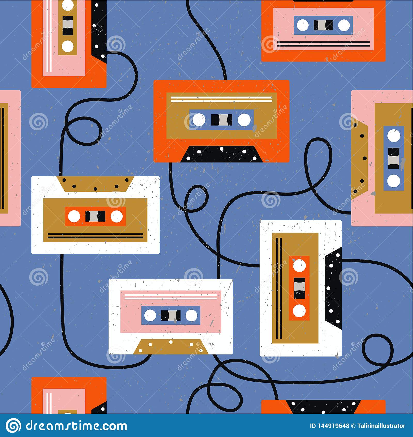 Audio cassettes, colorful musical seamless pattern. Decorative background