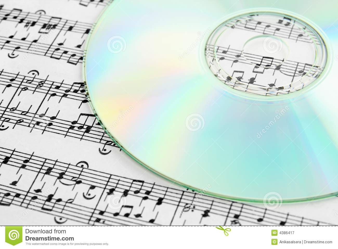 audio cd and music notes stock image  image of score