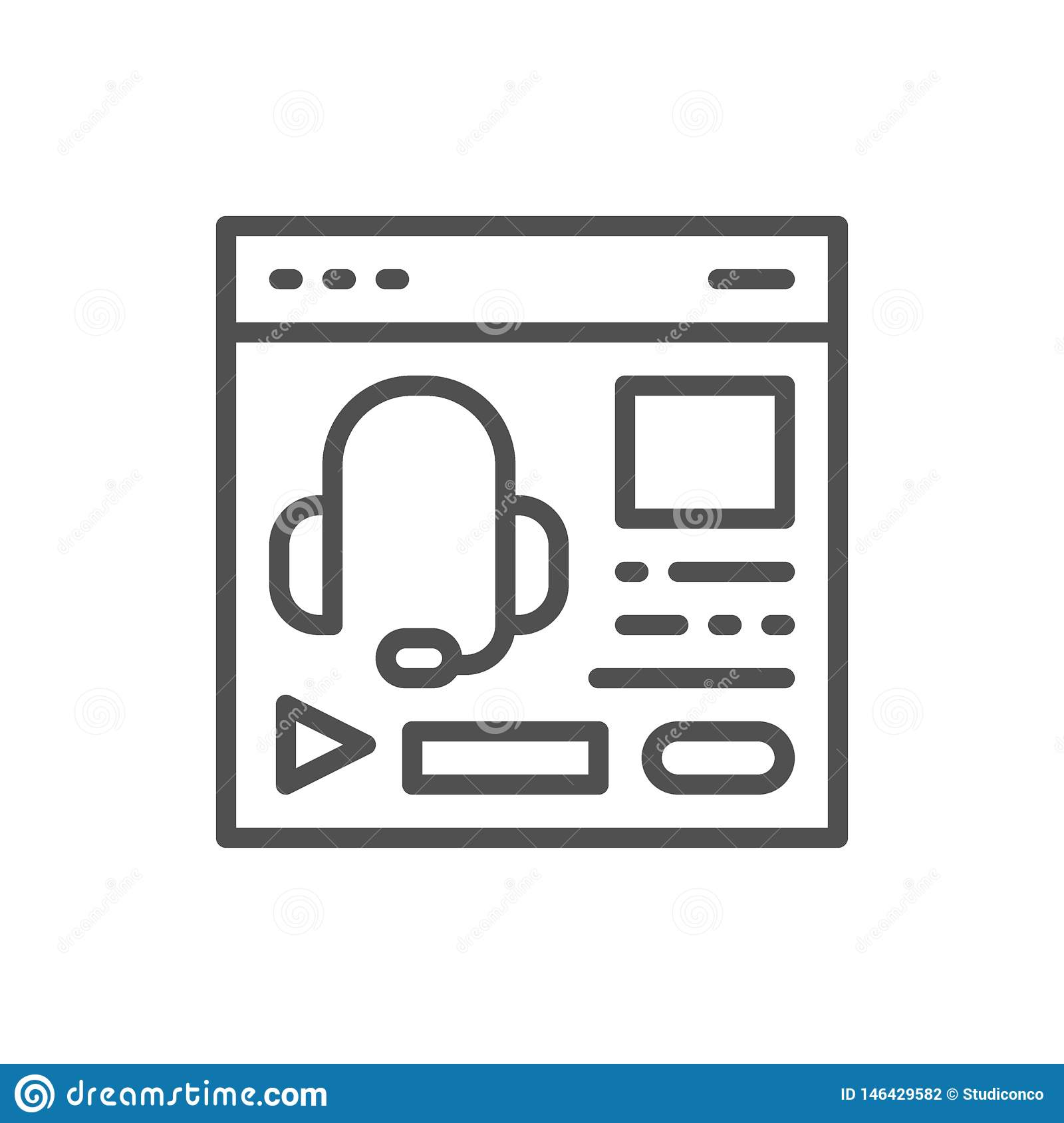 Audio course, podcast, education website, web page line icon.
