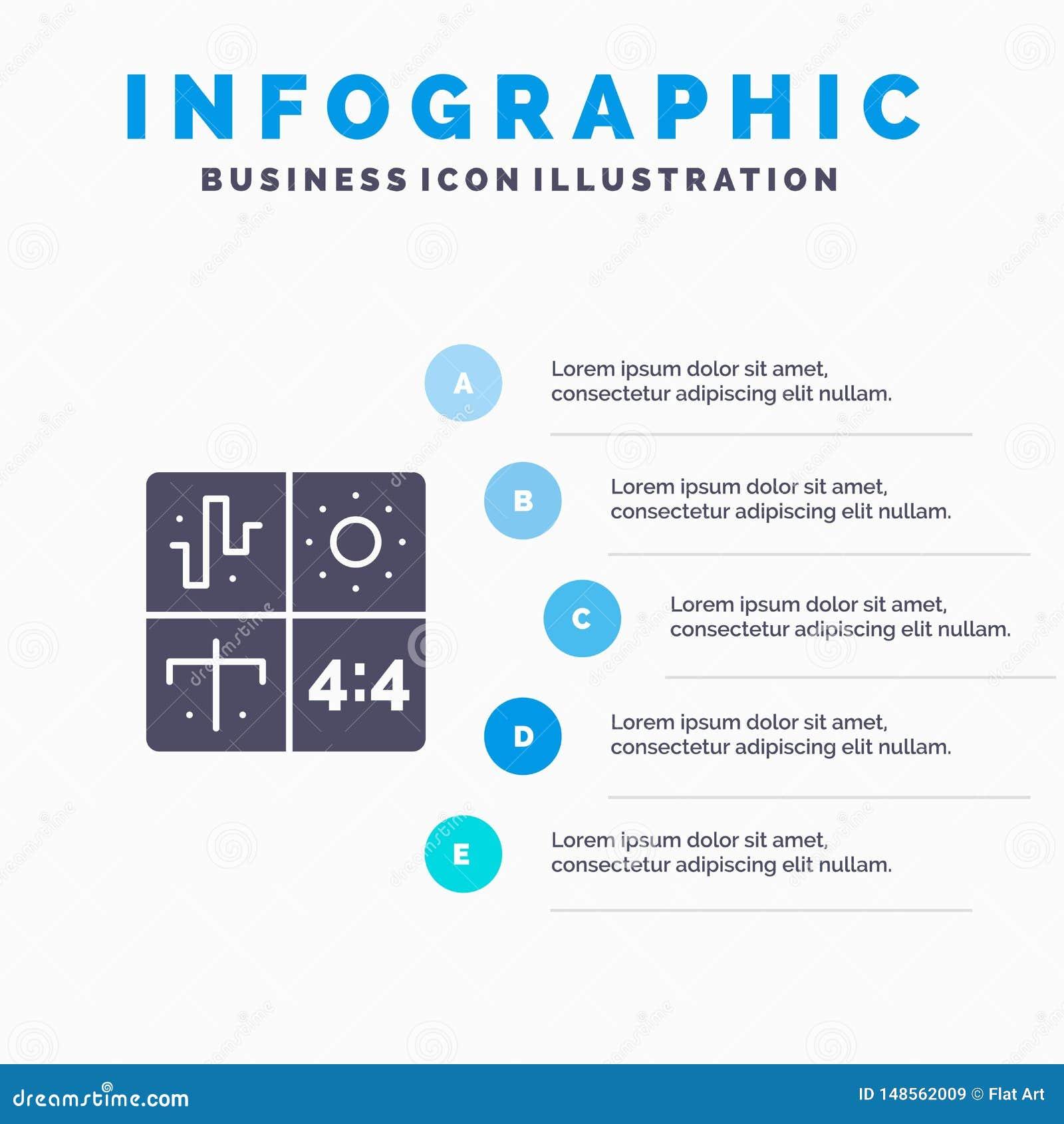 Audio Design Development Engineering Process Solid Icon Infographics 5 Steps Presentation Background Stock Vector Illustration Of Digital Application 148562009