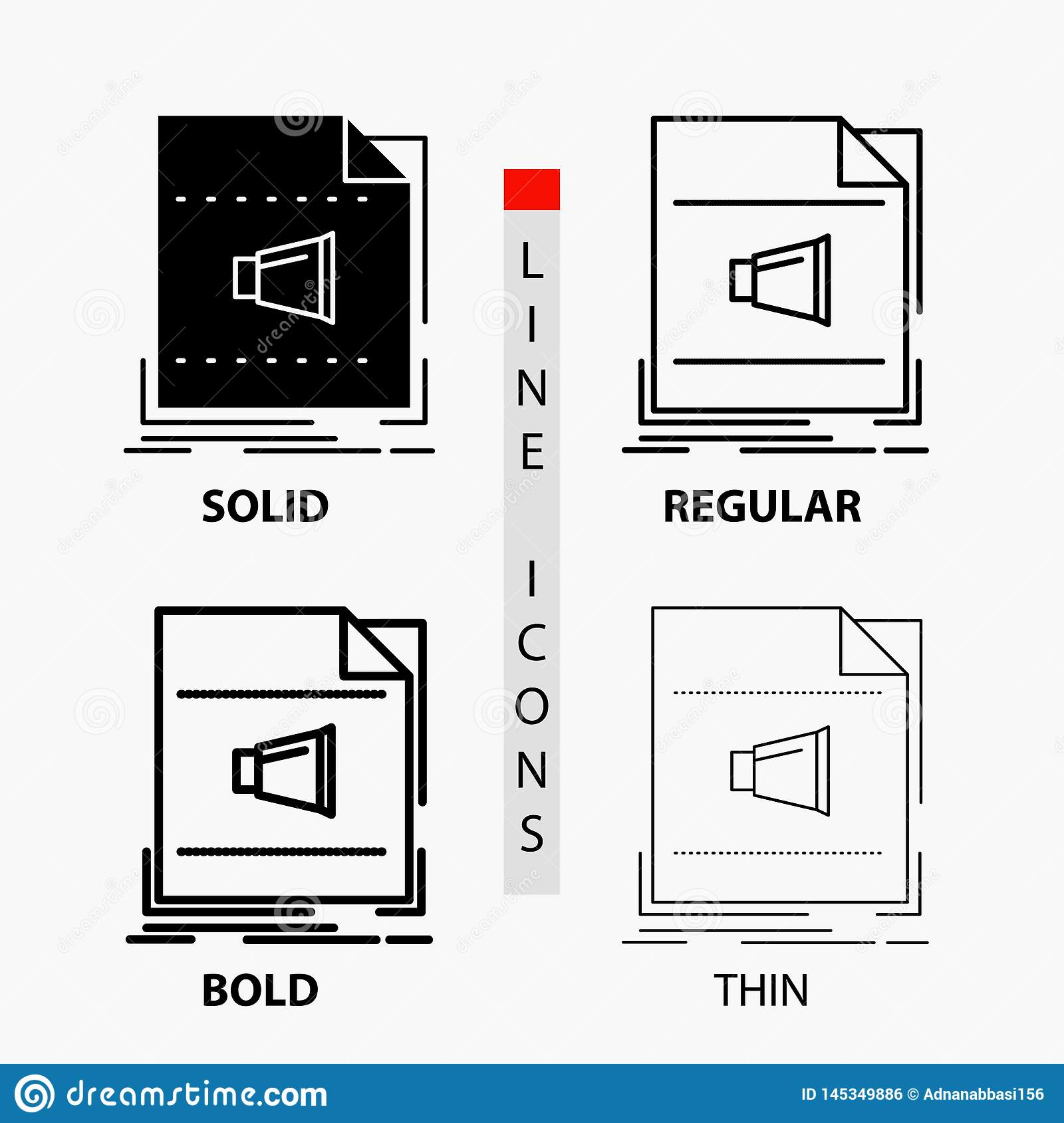 Audio, file, format, music, sound Icon in Thin, Regular, Bold Line and Glyph Style. Vector illustration