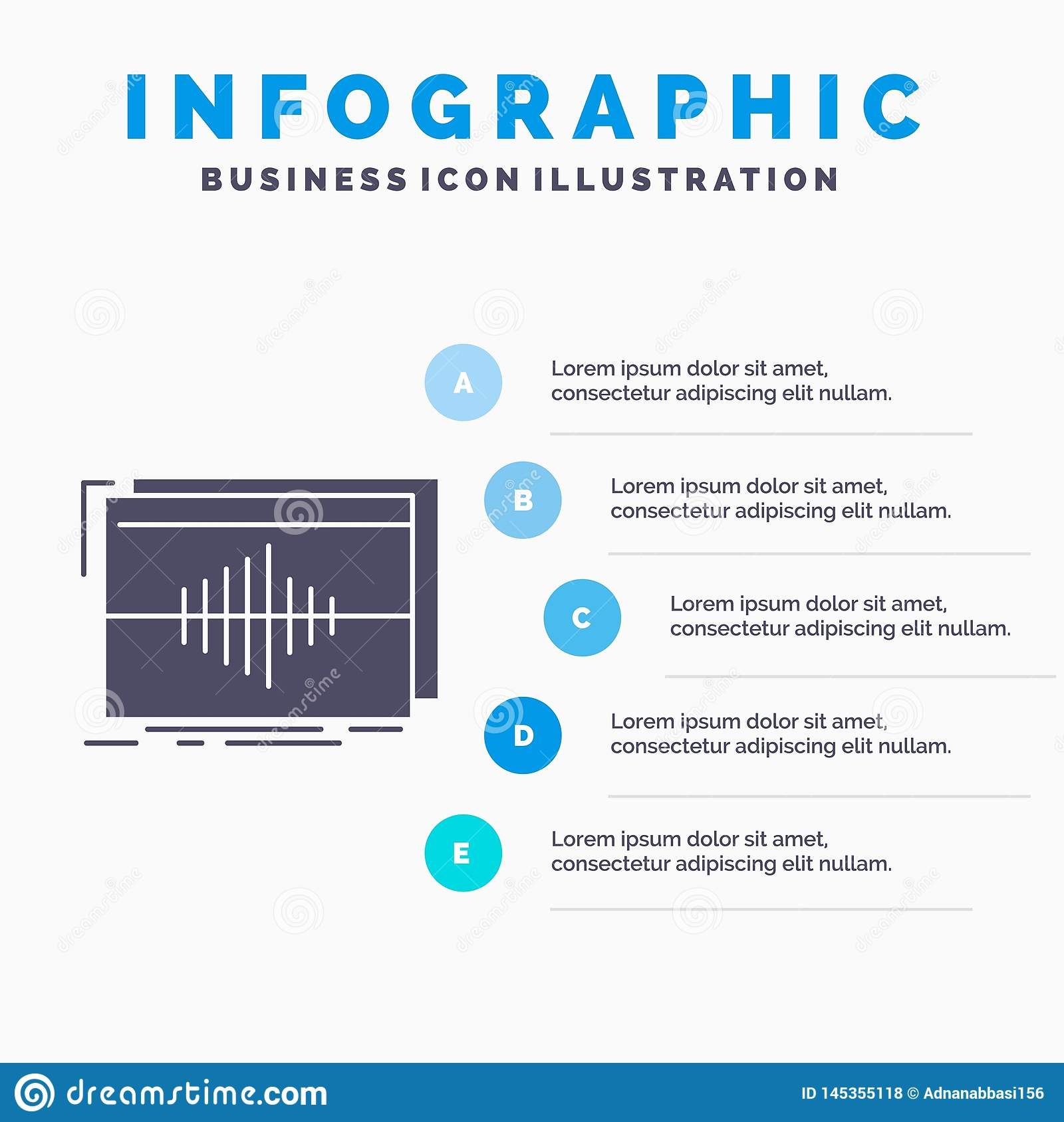 Audio, frequency, hertz, sequence, wave Infographics Template for Website and Presentation. GLyph Gray icon with Blue infographic. Style vector illustration royalty free stock photos
