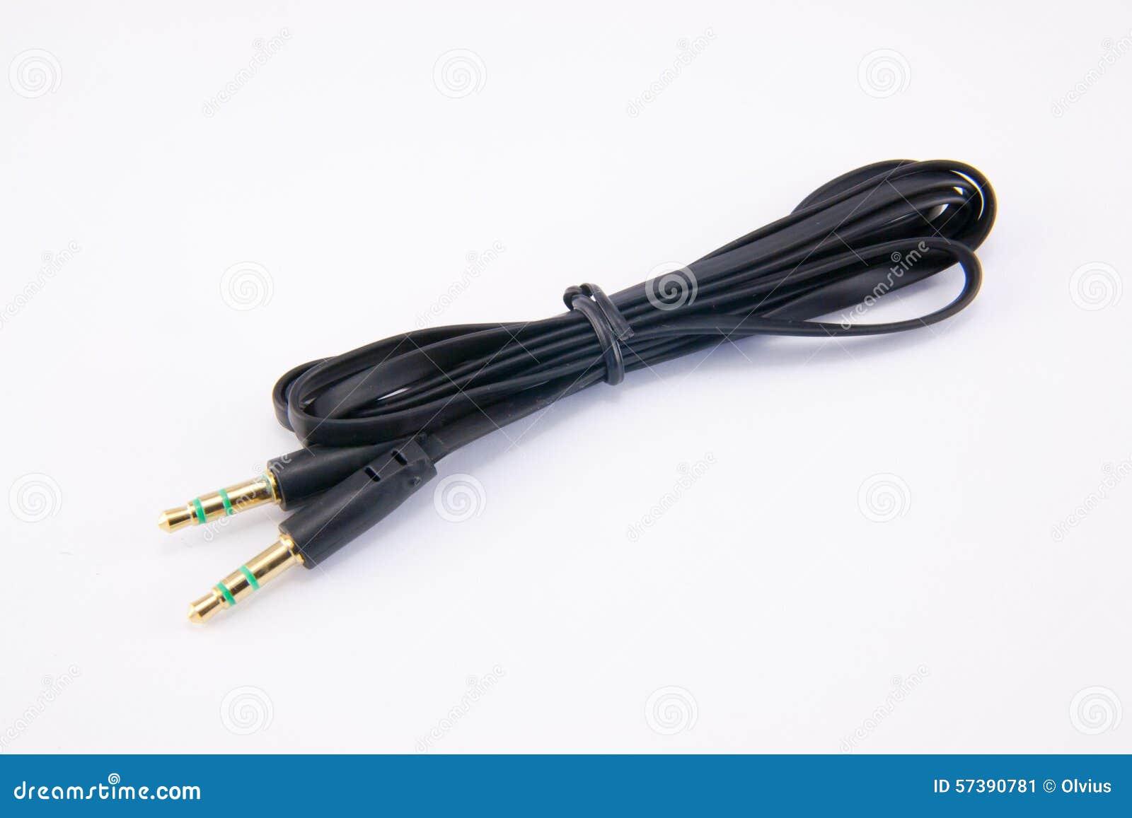 Audio kabel op wit