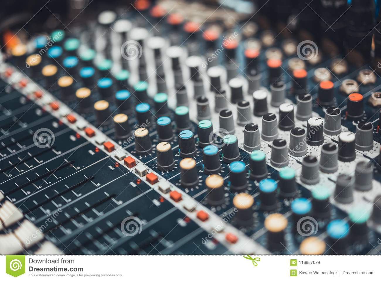 Audio mixer control panel or sound editor, cinematic tone. Digital music technology, concert event, DJ equipment concept