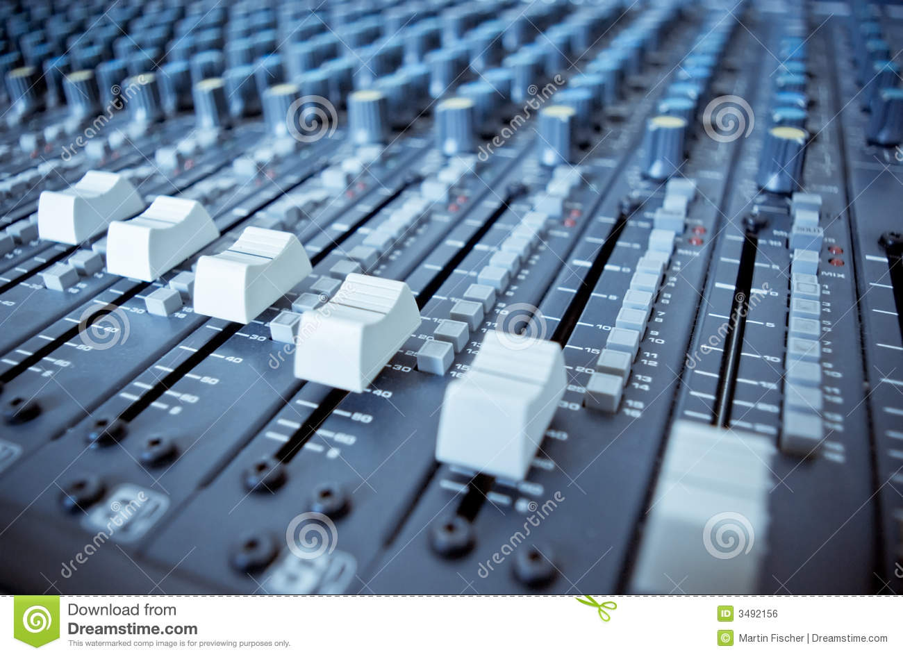 Audio Mixing Board Sliders stock photo  Image of