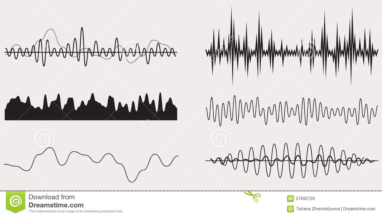 audio music sound wave vector set stock vector image 57693729