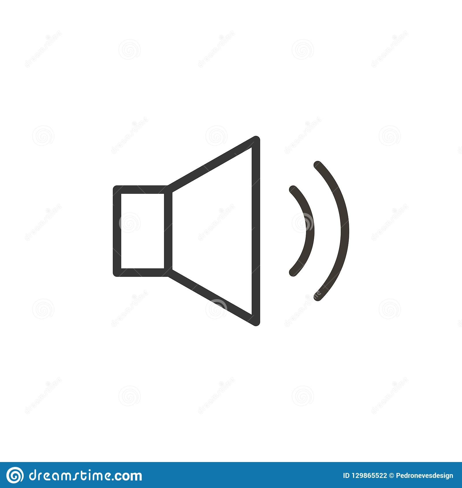 Audio or music speaker icon. Vector thin line button for interface related with music and sound