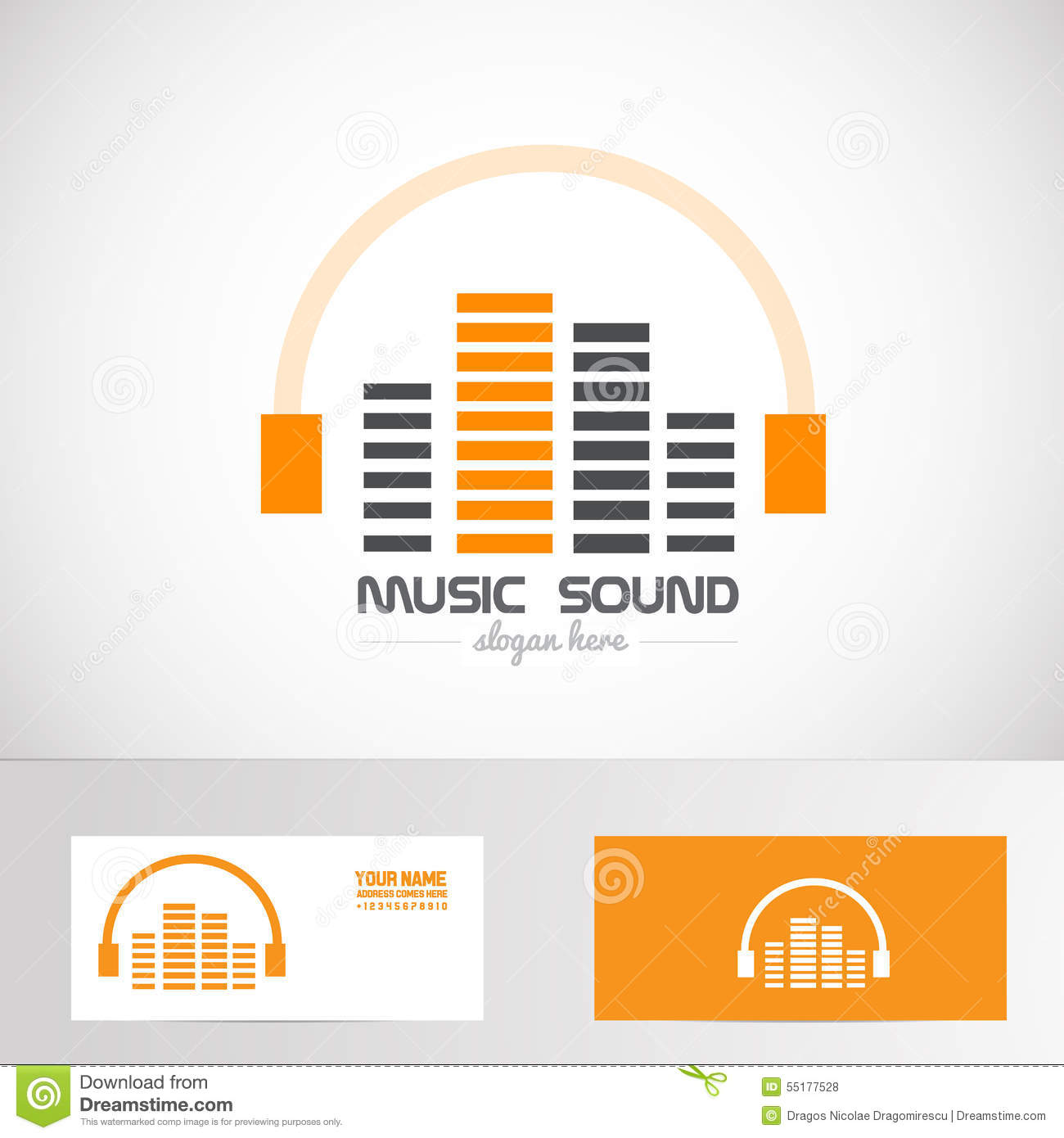 Audio Music Volume Sound Headphones Logo Stock Vector - Illustration ...