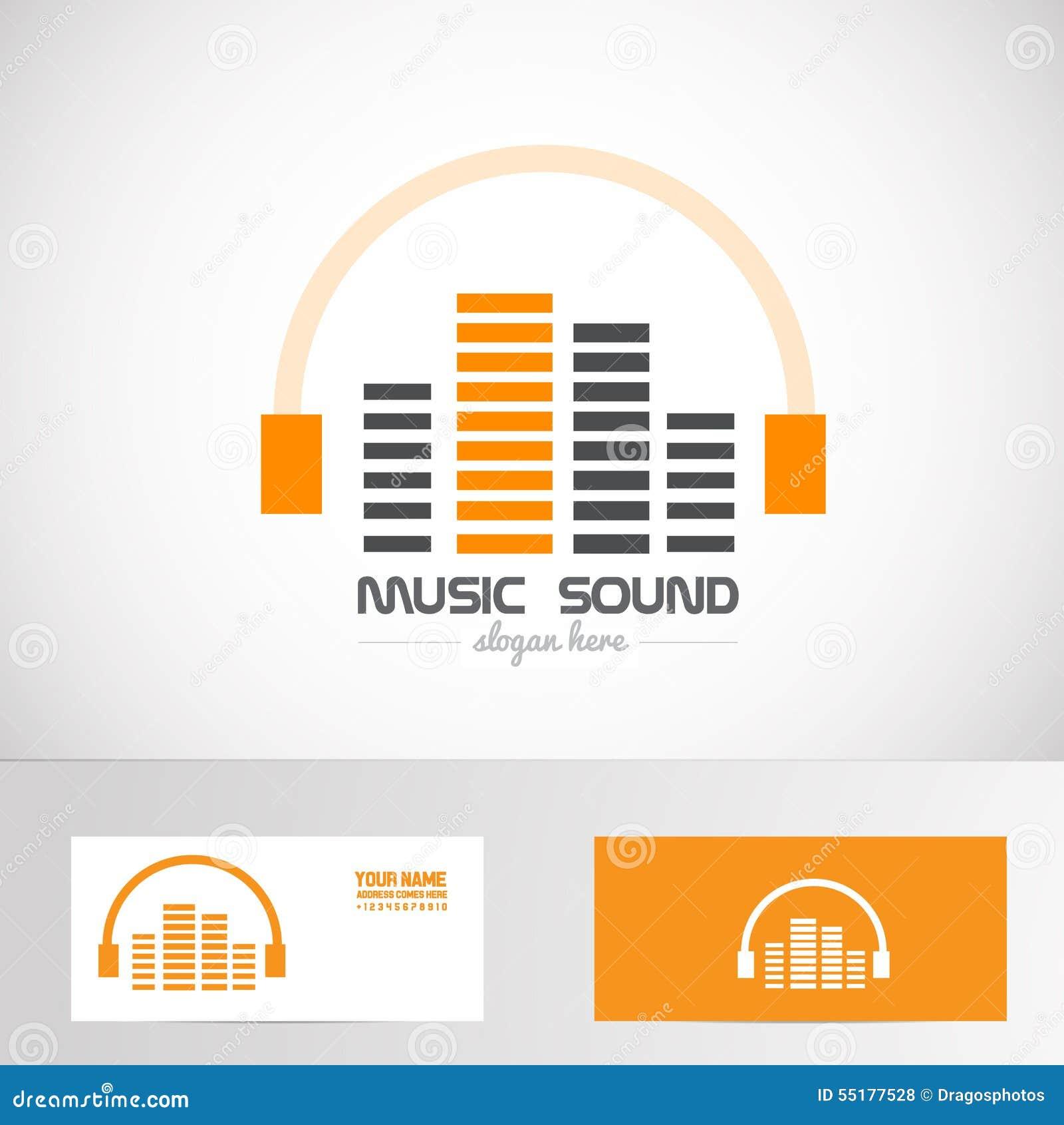 Audio Music Volume Sound Headphones Logo Stock Vector