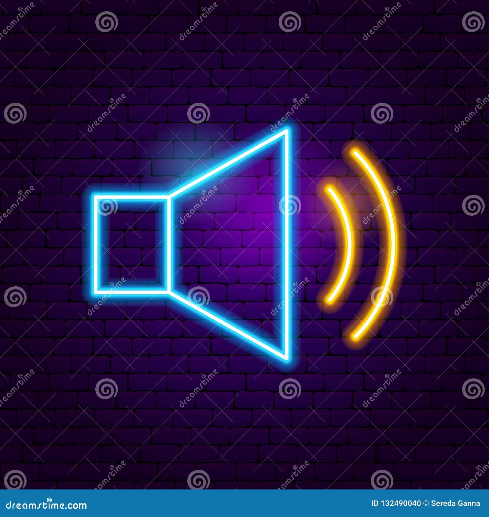 Audio Neon Sign stock vector  Illustration of megaphone