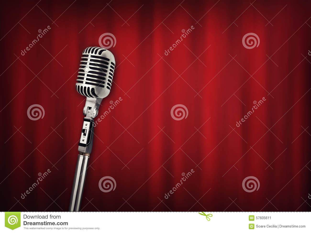 Audio retro microphone with red curtain