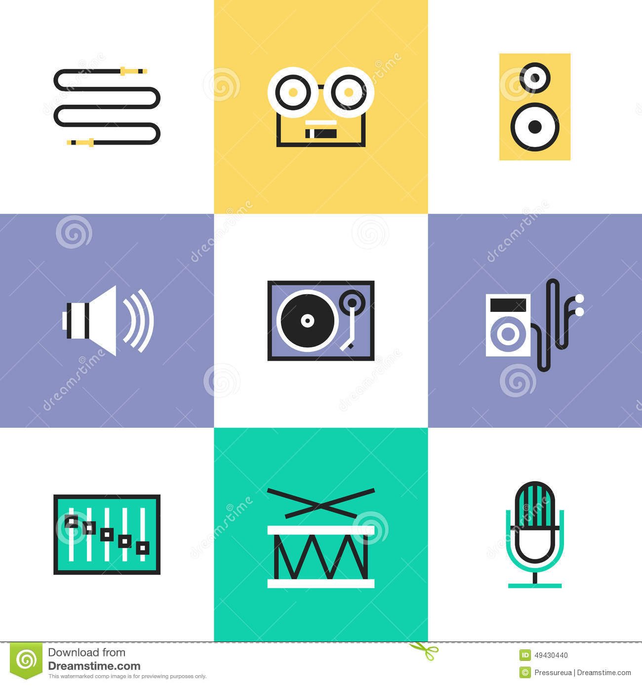Audio And Sound Pictogram Icons Set Stock Vector